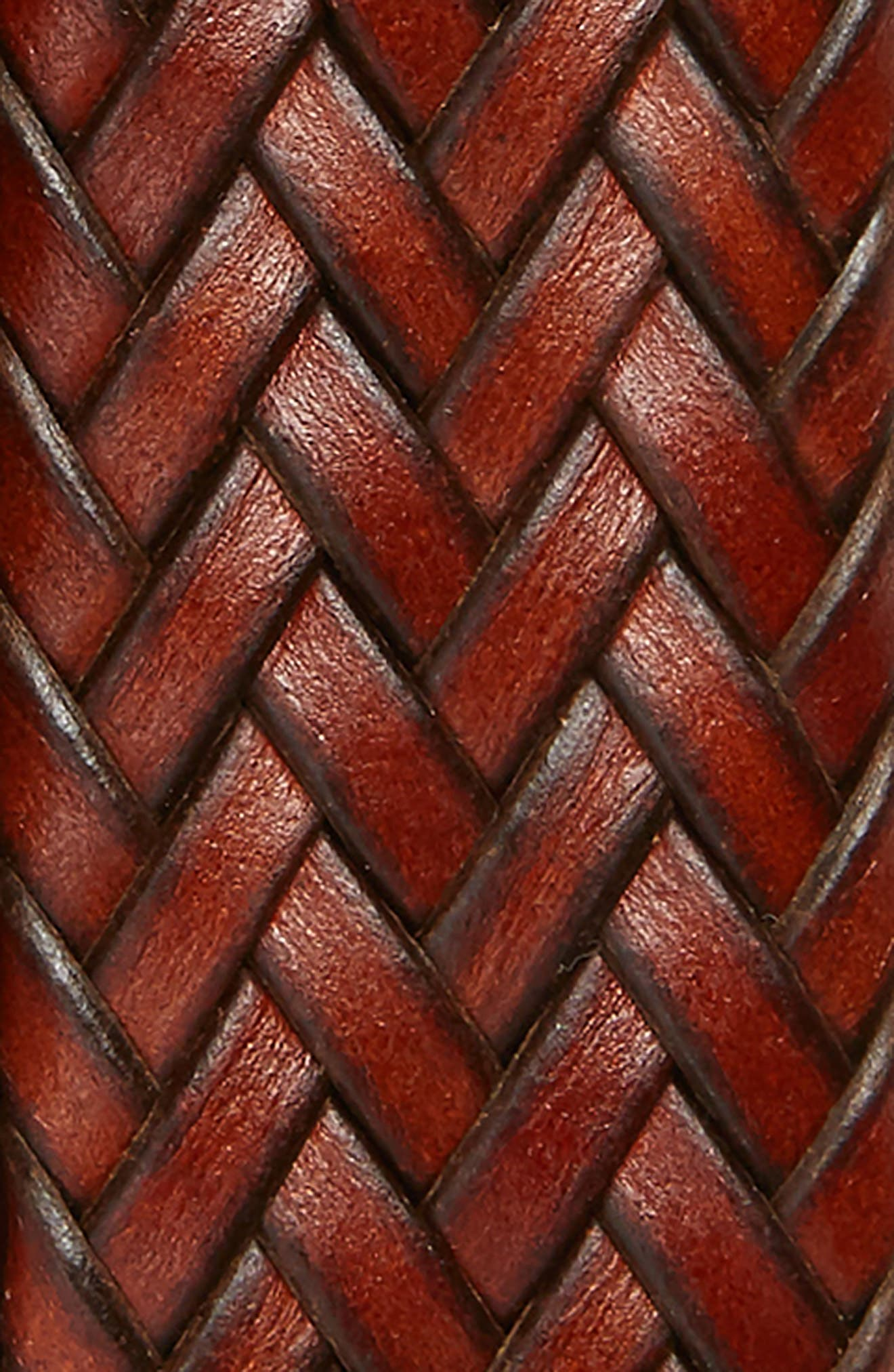 COLE HAAN, Woven Leather Belt, Alternate thumbnail 2, color, WOODBURY