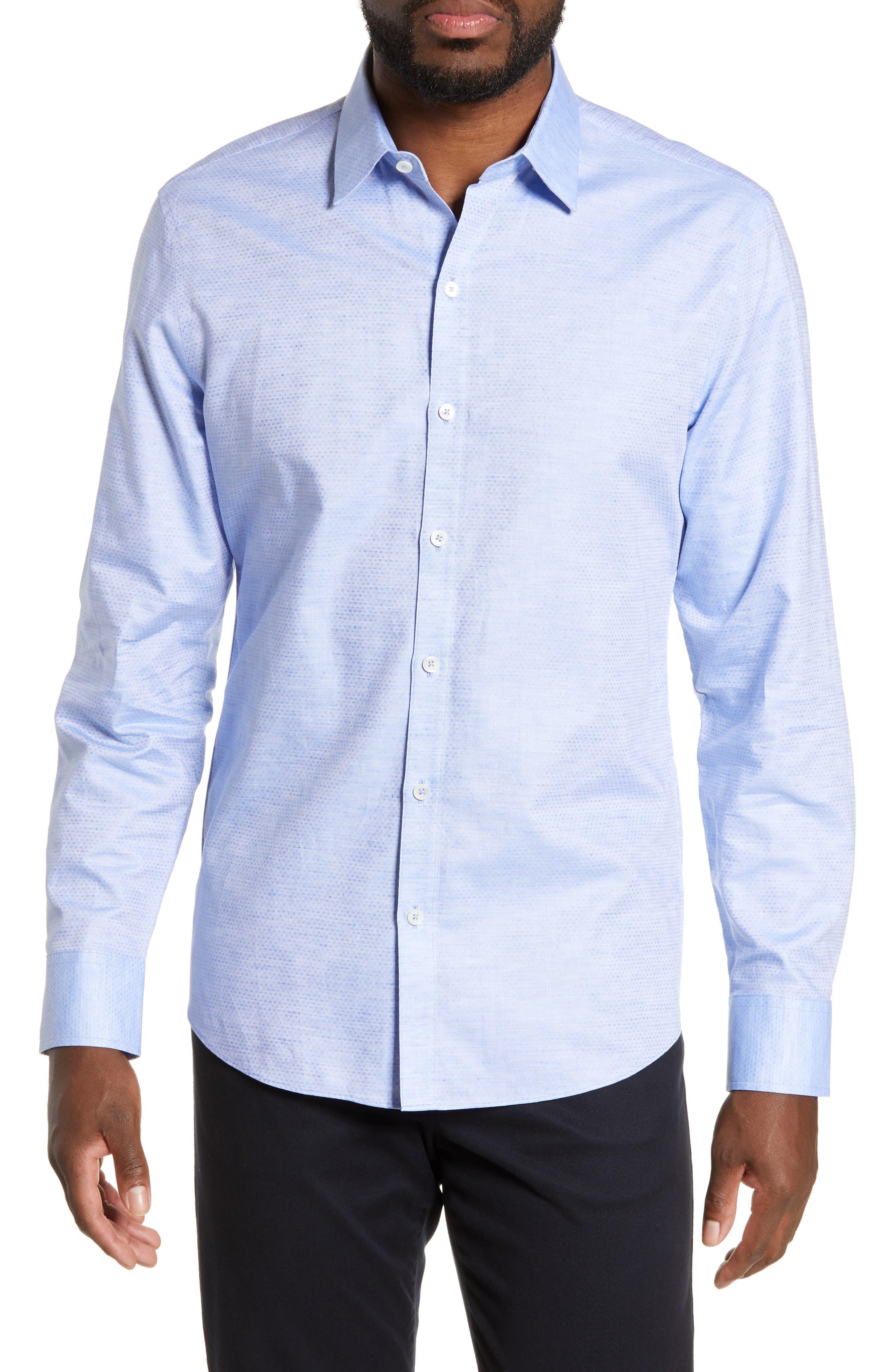 ZACHARY PRELL, Alfano Regular Fit Cotton & Linen Sport Shirt, Main thumbnail 1, color, LT BLUE