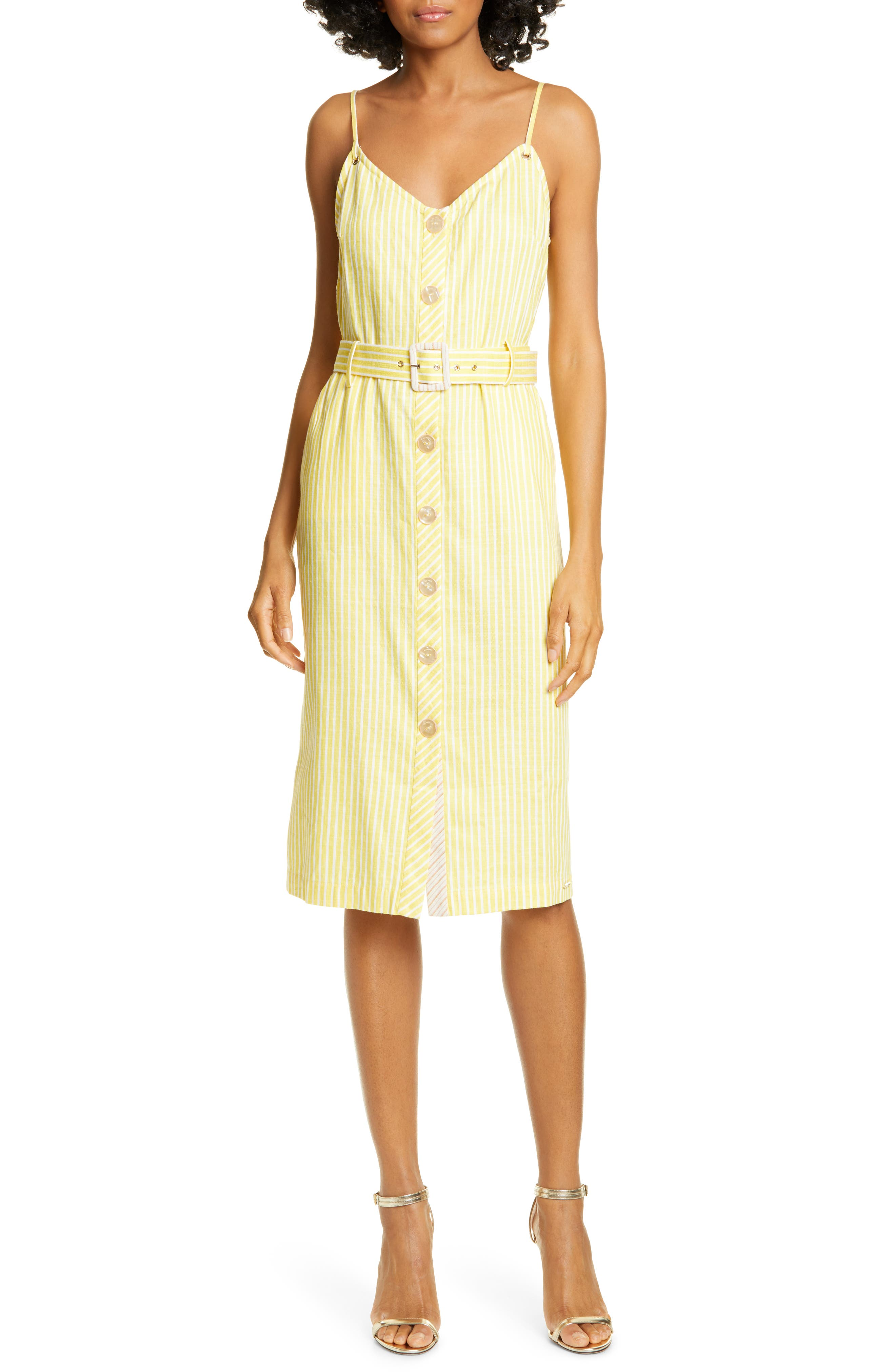 Ted Baker London Colour By Numbers Donana Stripe Sundress, Yellow