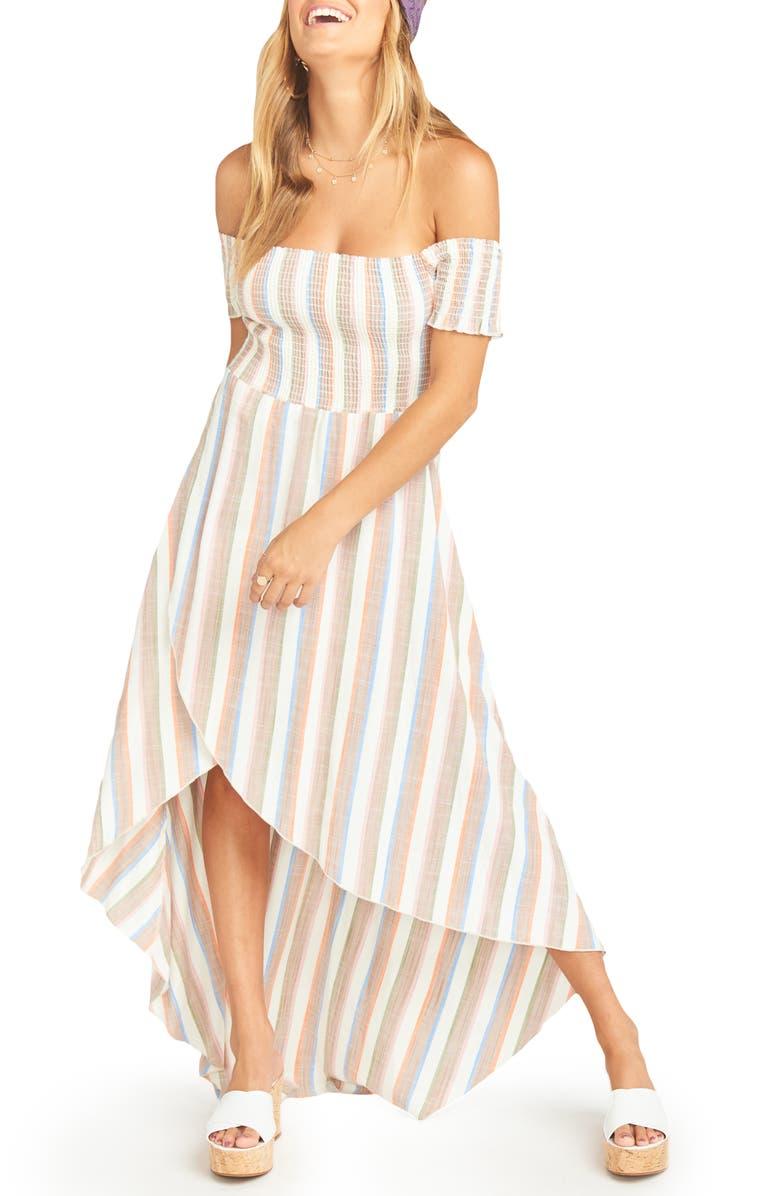 Show Me Your Mumu Dresses STRIPE OFF THE SHOULDER HIGH/LOW MAXI DRESS