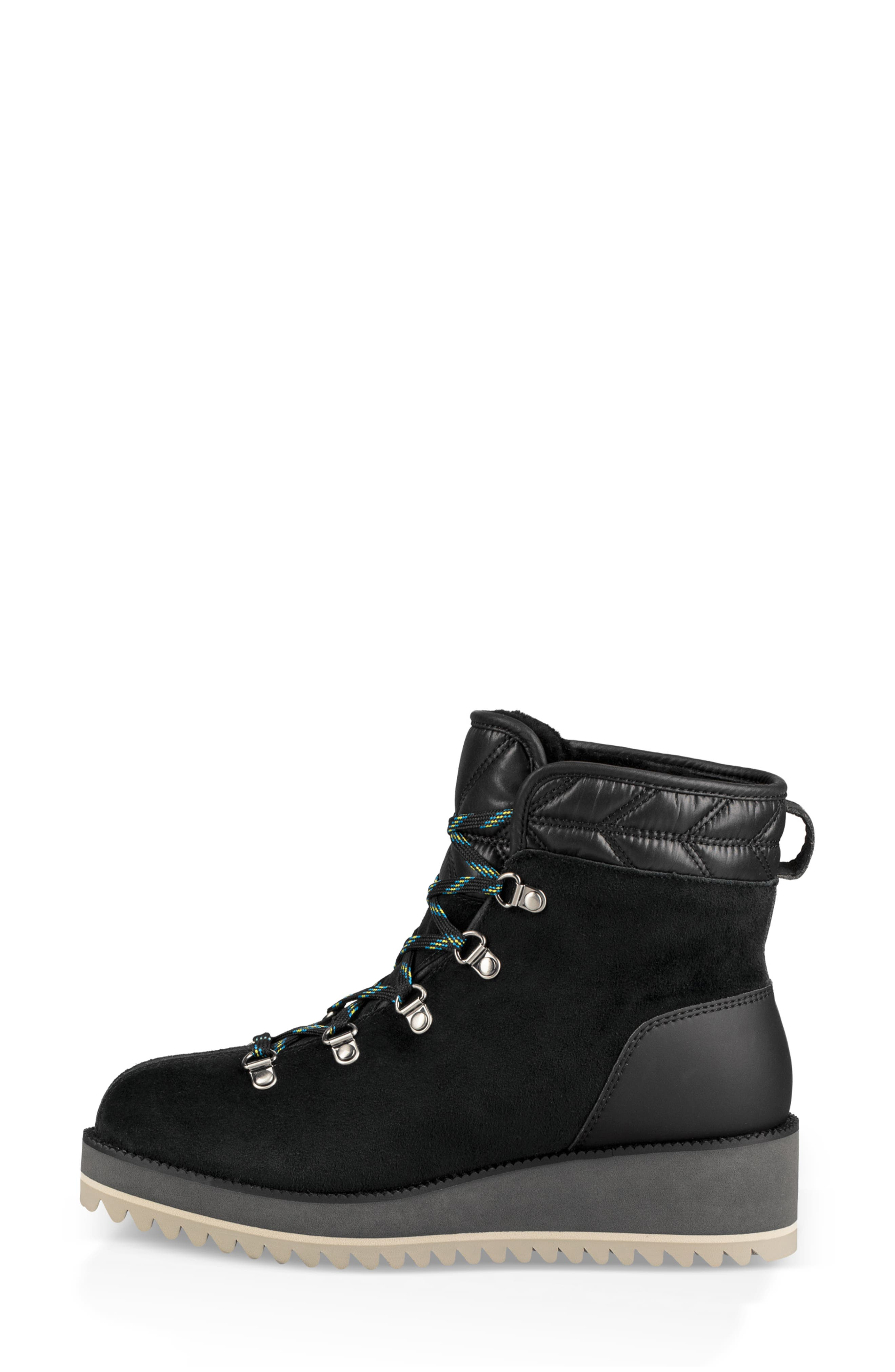 UGG<SUP>®</SUP>, Birch Waterproof Lace-Up Winter Bootie, Alternate thumbnail 7, color, BLACK