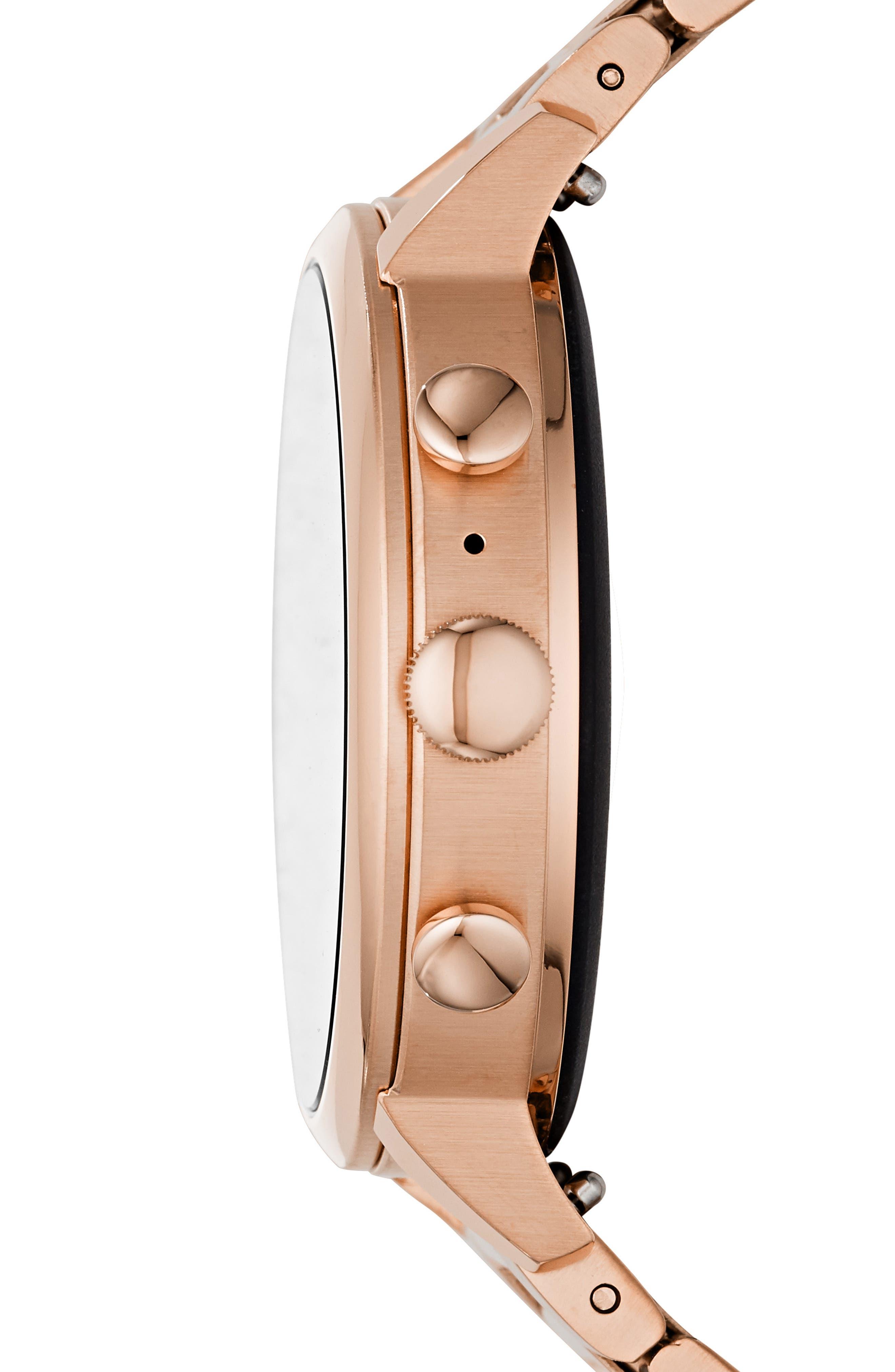 FOSSIL, Q Venture HR Bracelet Watch, 40mm, Alternate thumbnail 3, color, ROSE GOLD