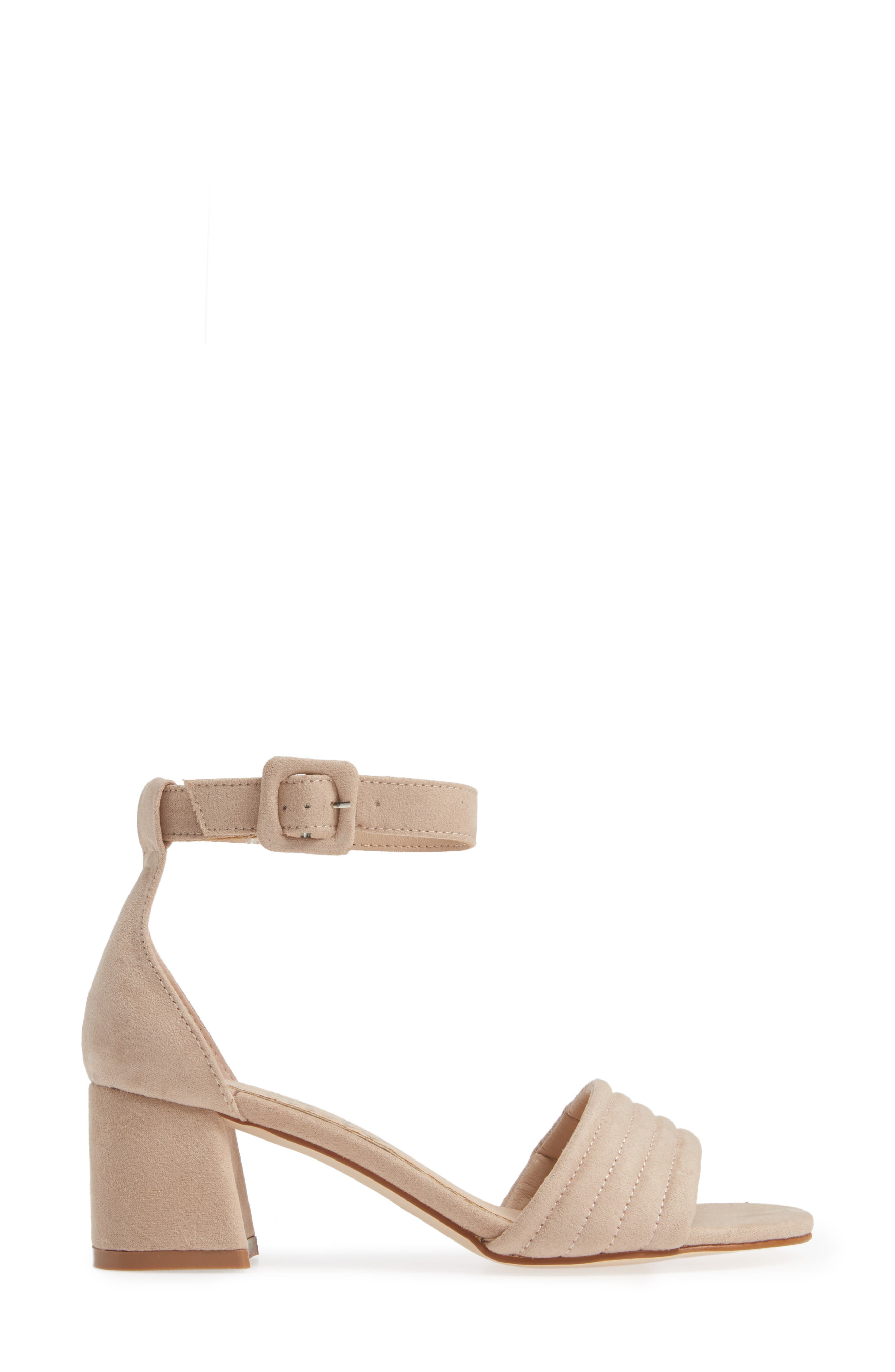 CALLISTO, Puffye Ankle Strap Sandal, Alternate thumbnail 3, color, BLUSH SUEDE SYNTHETIC