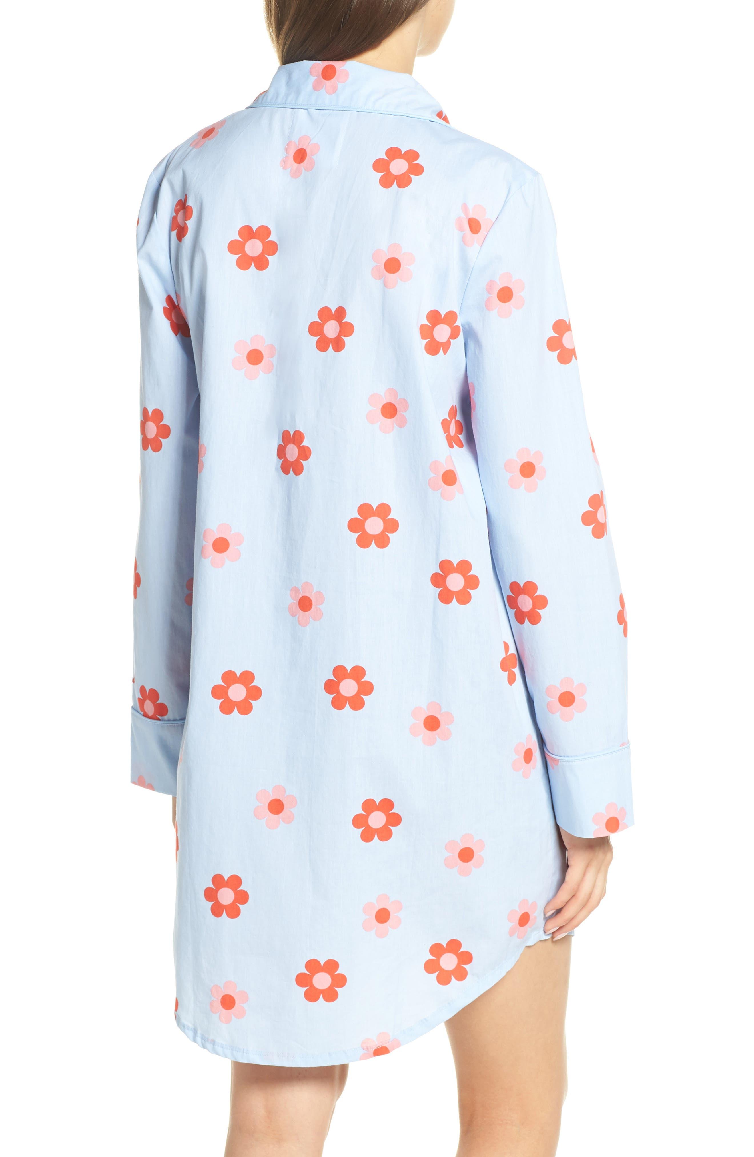 BAN.DO, Retro Daisy Sleep Shirt, Alternate thumbnail 2, color, LIGHT BLUE
