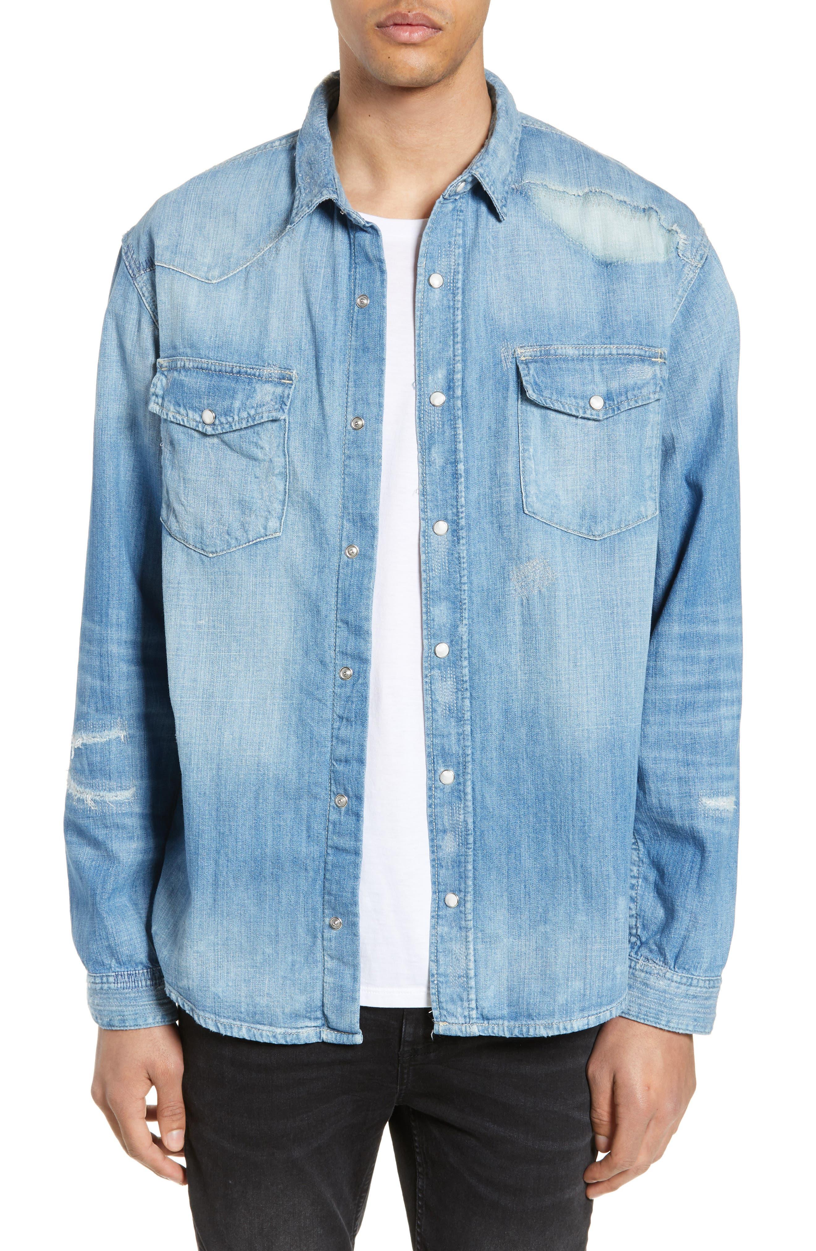 THE KOOPLES Ripped Denim Shirt, Main, color, BLUE DENIM