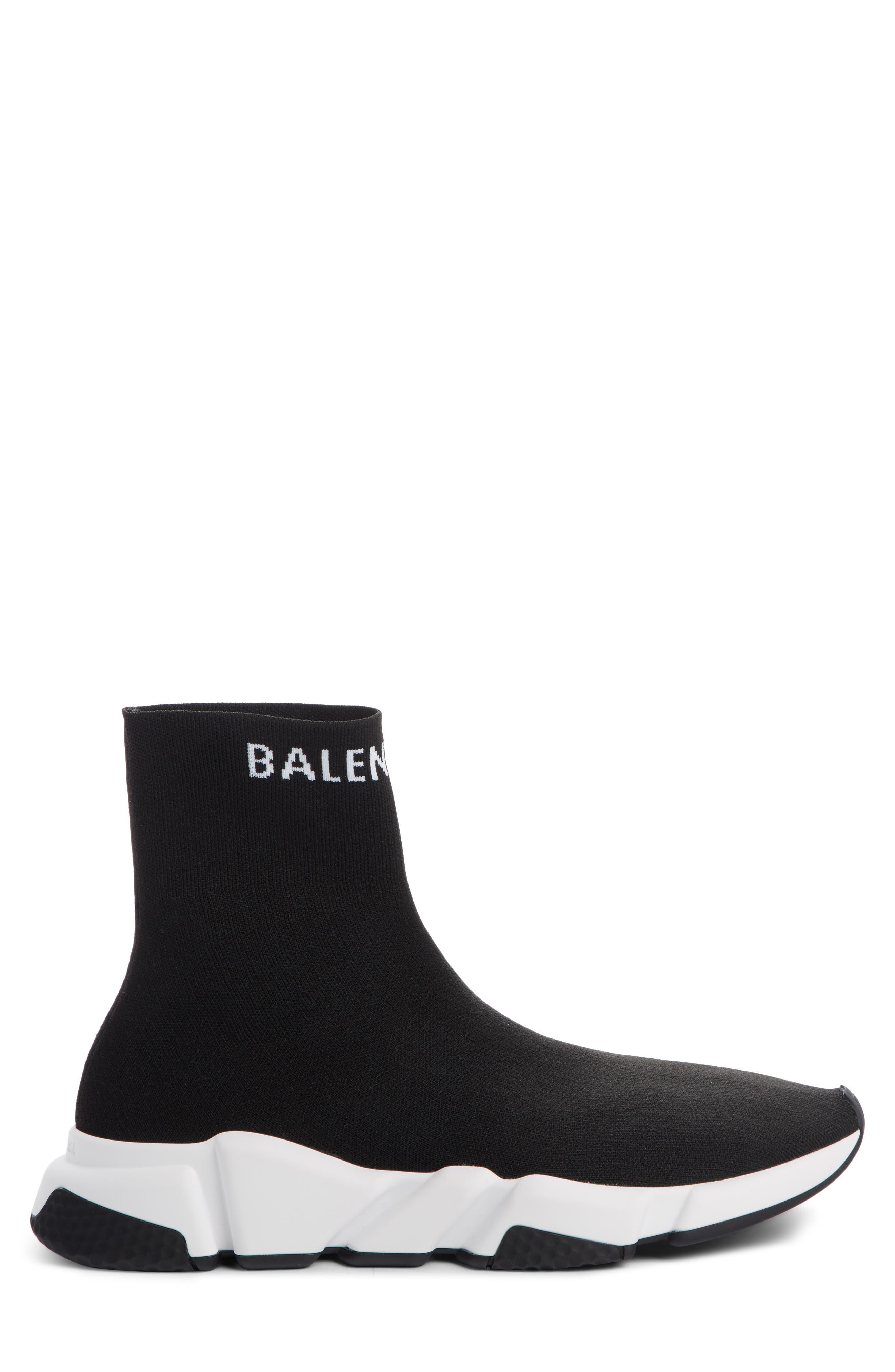 BALENCIAGA, Speed Sock Slip-On, Alternate thumbnail 3, color, BLACK/ WHITE