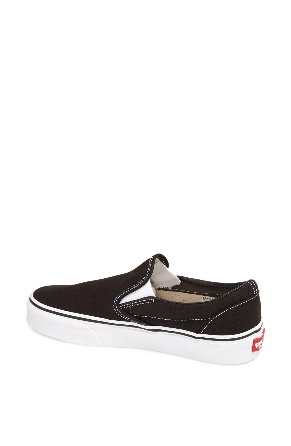 VANS, Classic Slip-On Sneaker, Alternate thumbnail 5, color, BLACK