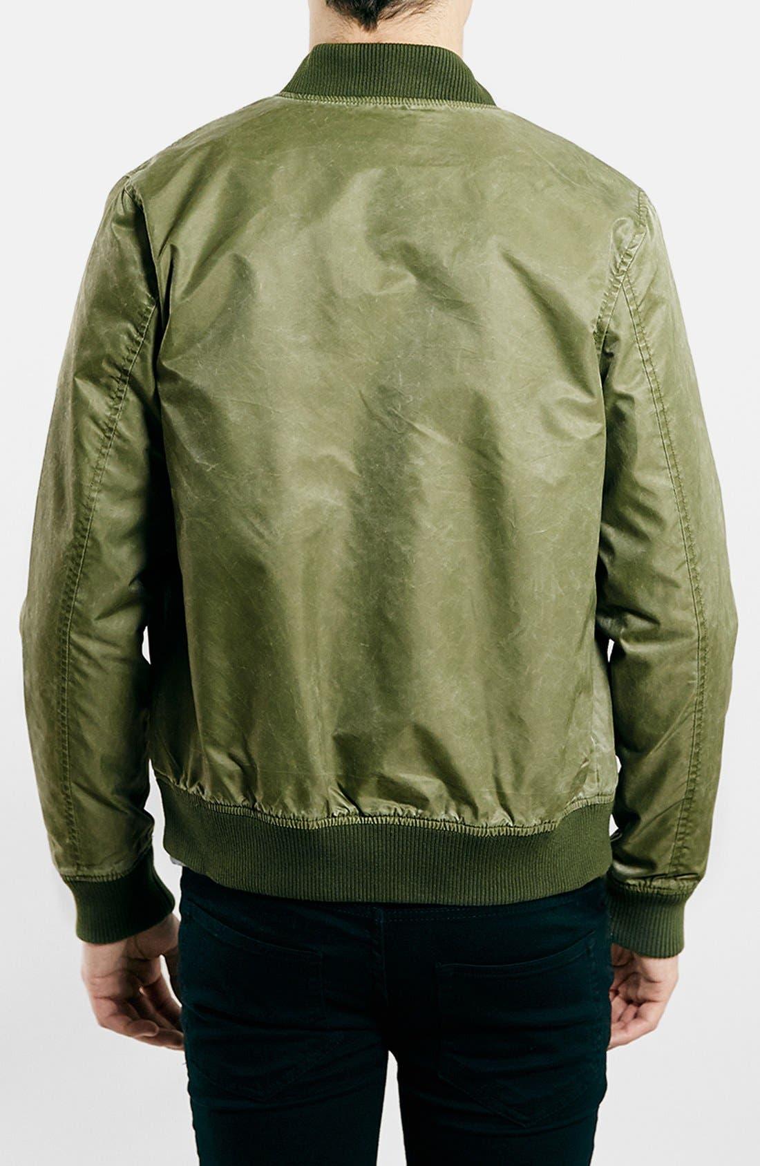 TOPMAN, Brushed Nylon Bomber Jacket, Alternate thumbnail 4, color, 300