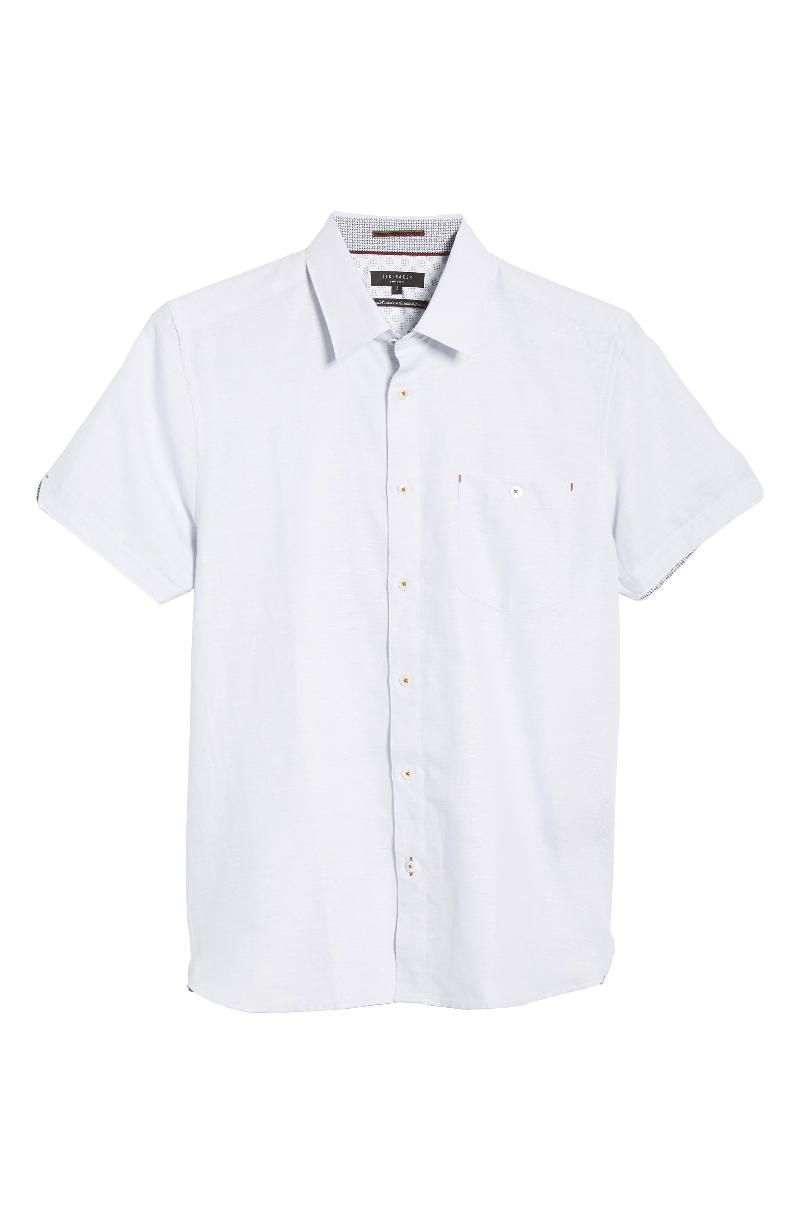 TED BAKER LONDON, Graphit Slim Fit Cotton & Linen Sport Shirt, Alternate thumbnail 5, color, GREY