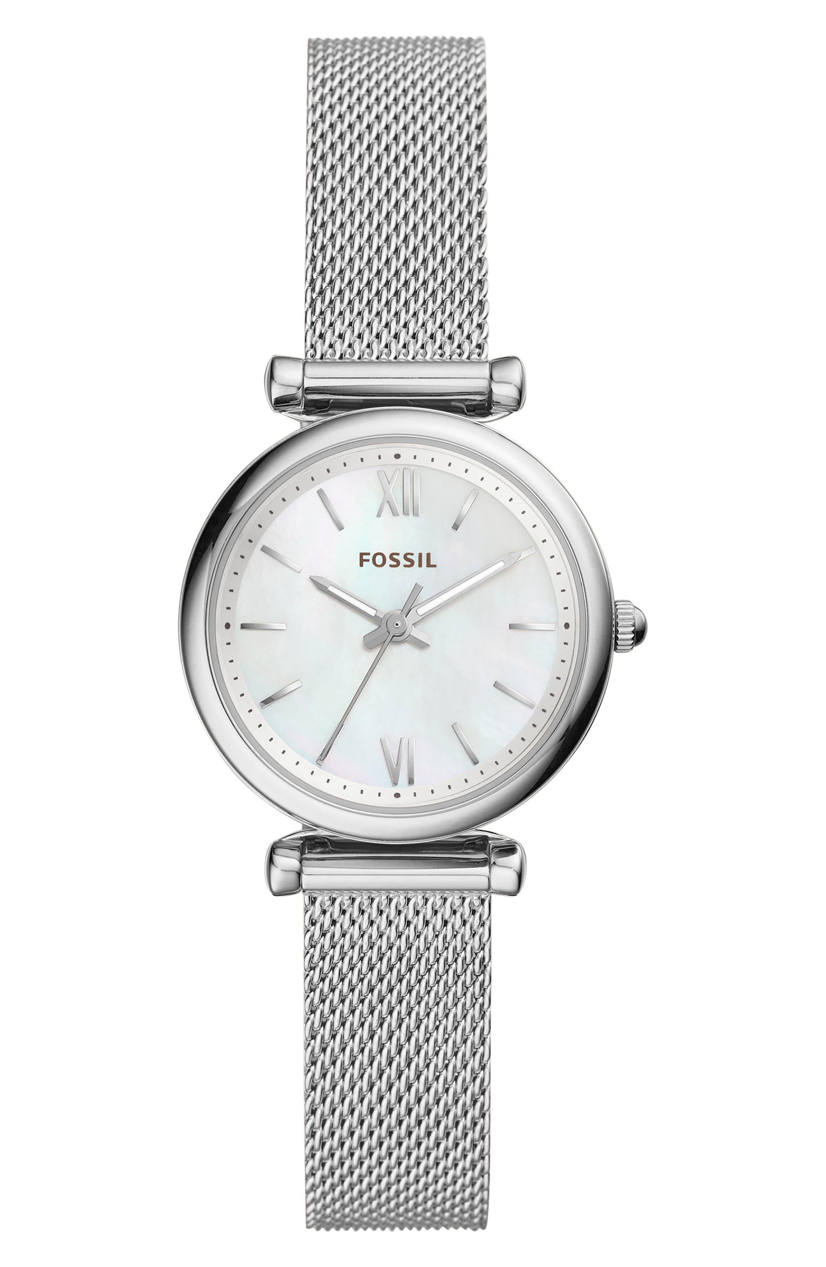 FOSSIL, Mini Carlie Mesh Strap Watch, 28mm, Main thumbnail 1, color, 040