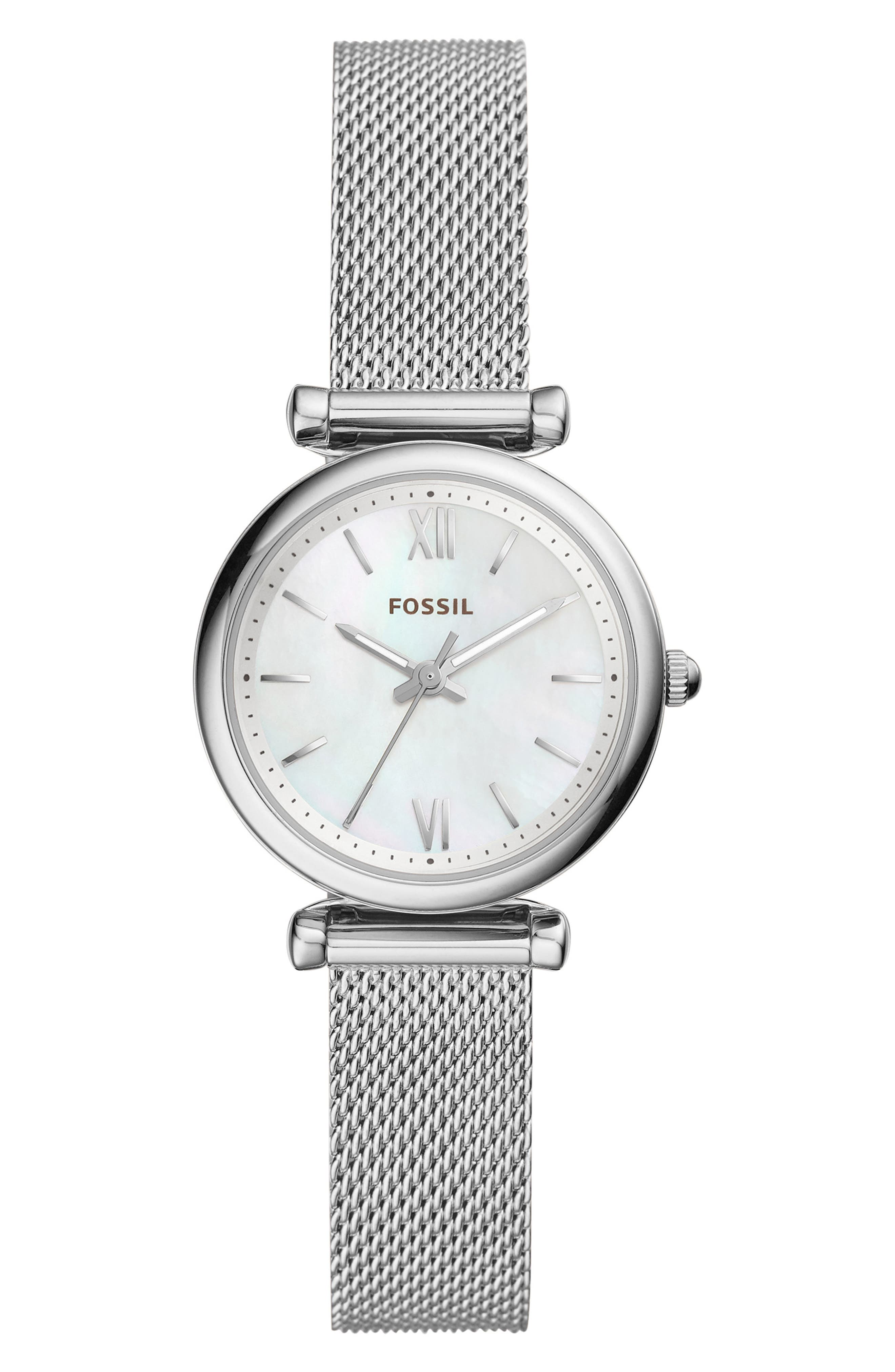 FOSSIL Mini Carlie Mesh Strap Watch, 28mm, Main, color, 040