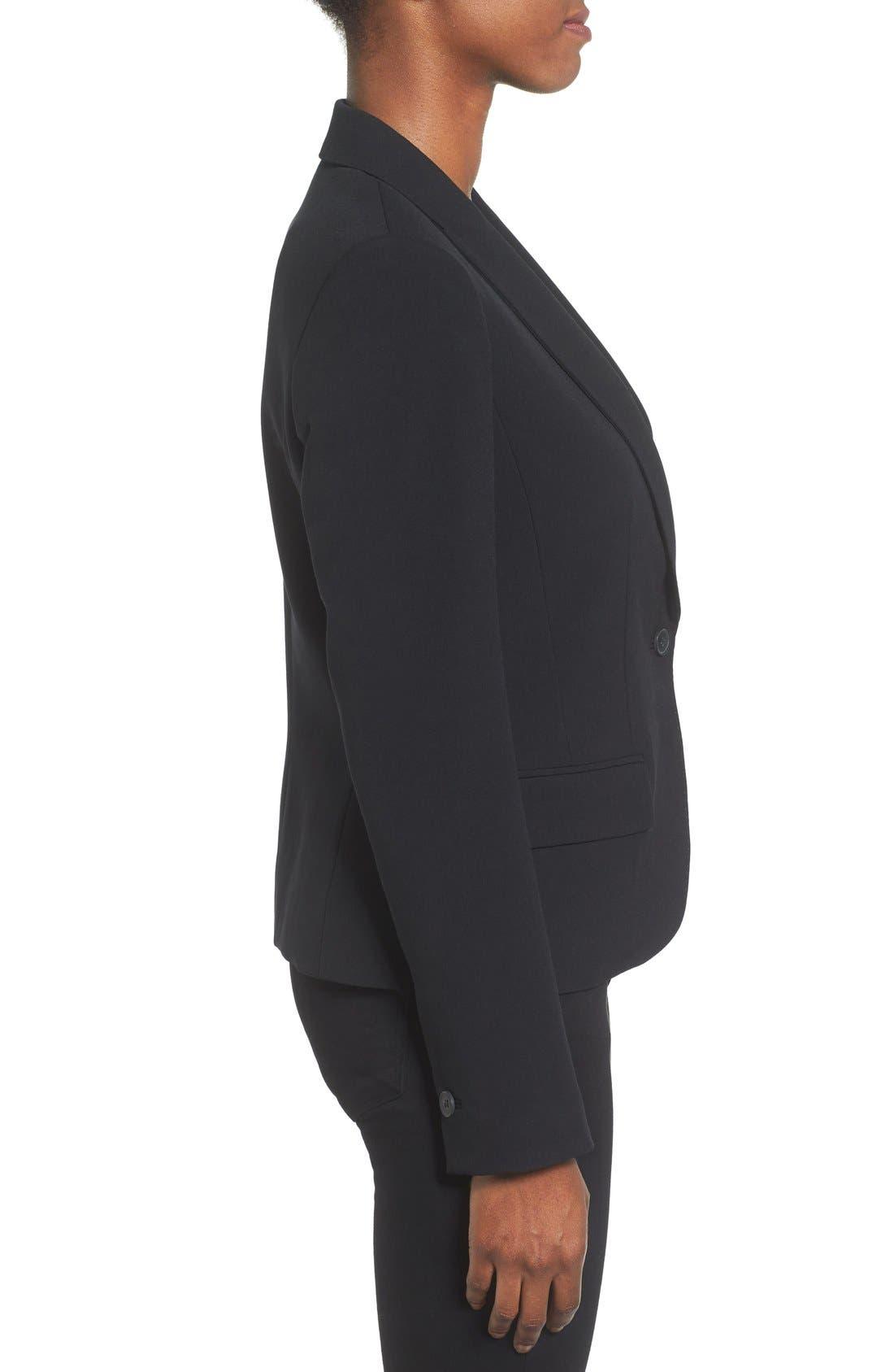 ANNE KLEIN, One-Button Suit Jacket, Alternate thumbnail 3, color, 001