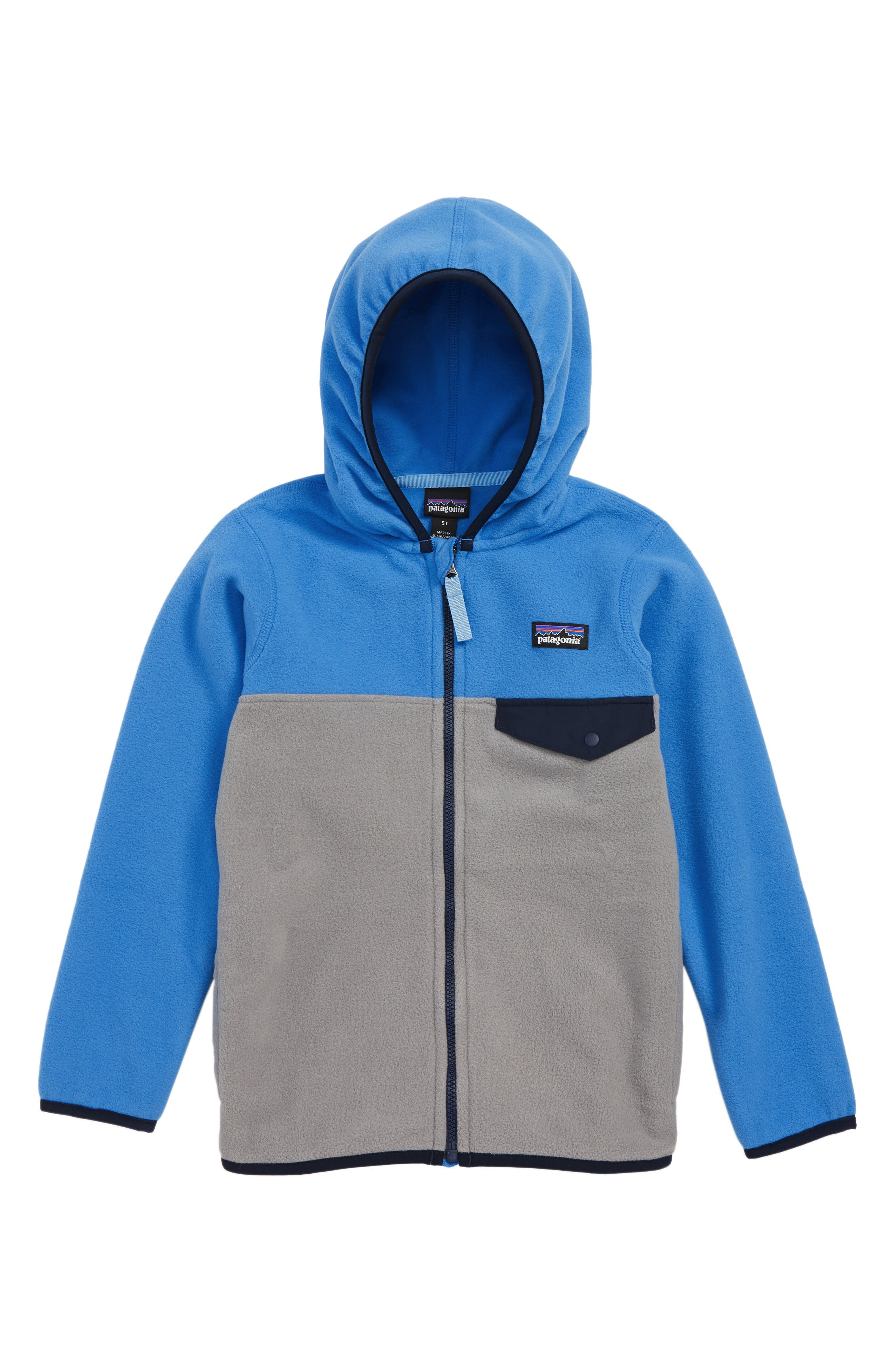 PATAGONIA, Micro D<sup>®</sup> Snap-T<sup>®</sup> Fleece Jacket, Main thumbnail 1, color, FEATHER GREY/ PORT BLUE