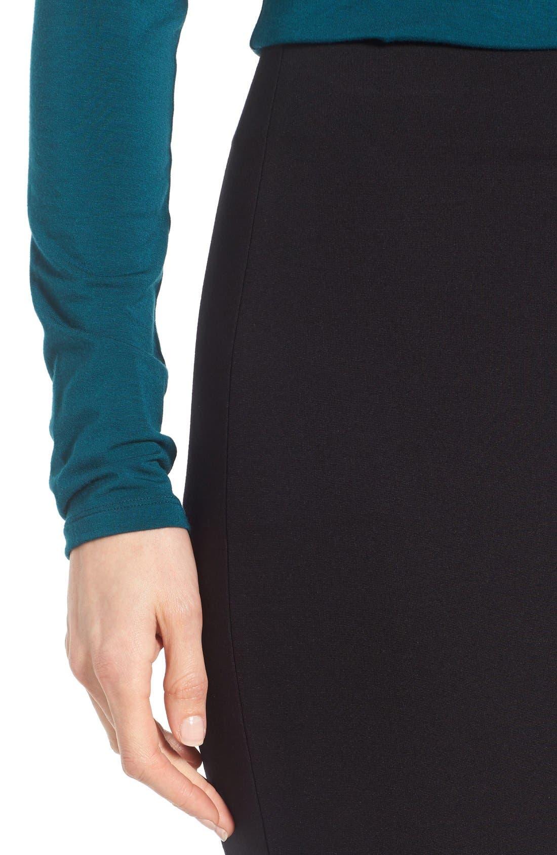 VINCE CAMUTO, Ponte Midi Skirt, Alternate thumbnail 5, color, RICH BLACK