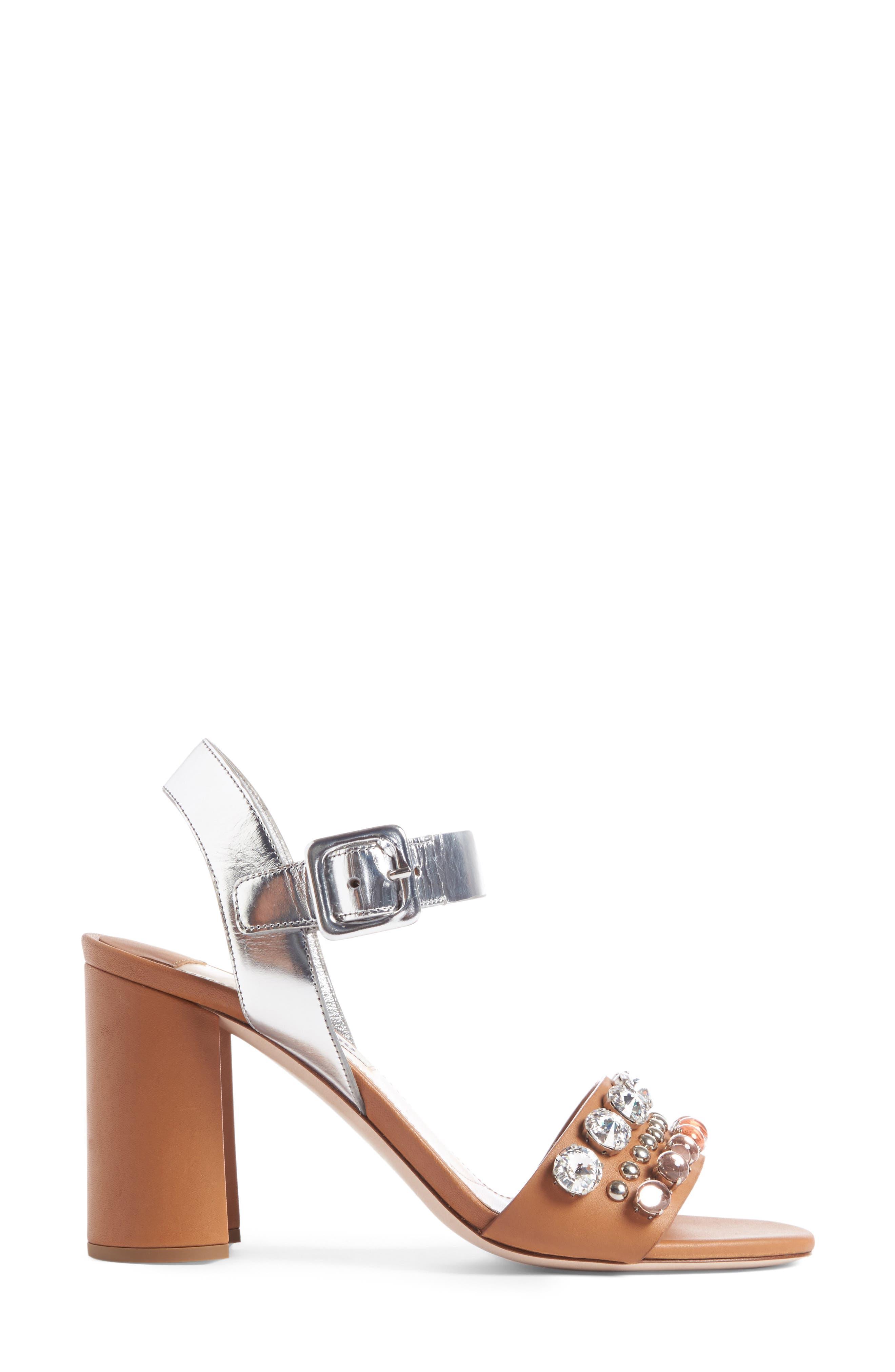 MIU MIU, Jewel Sandal, Alternate thumbnail 3, color, 200