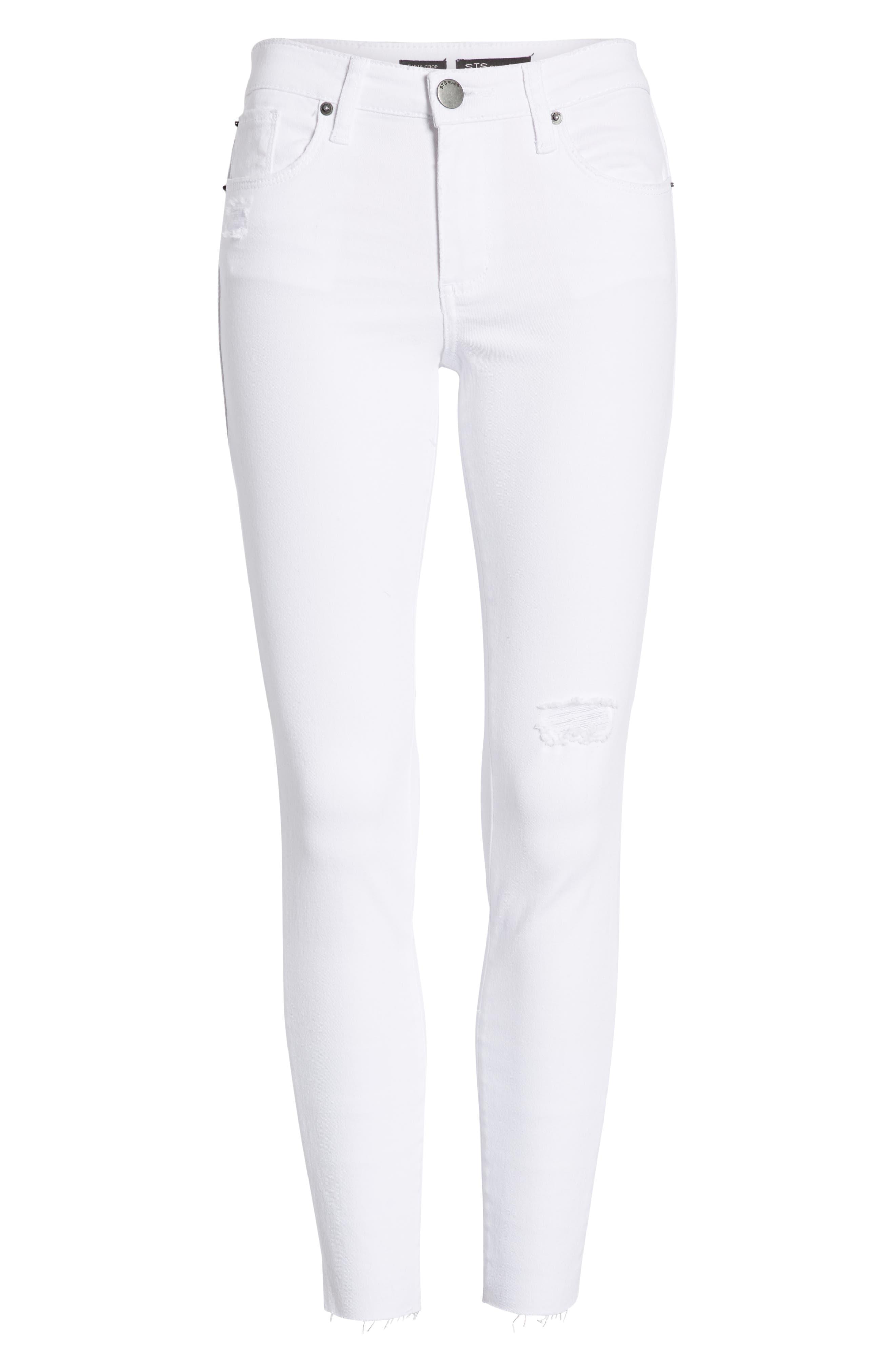 STS BLUE, Emma Cutoff Hem Crop Skinny Jeans, Alternate thumbnail 7, color, OPTIC WHITE