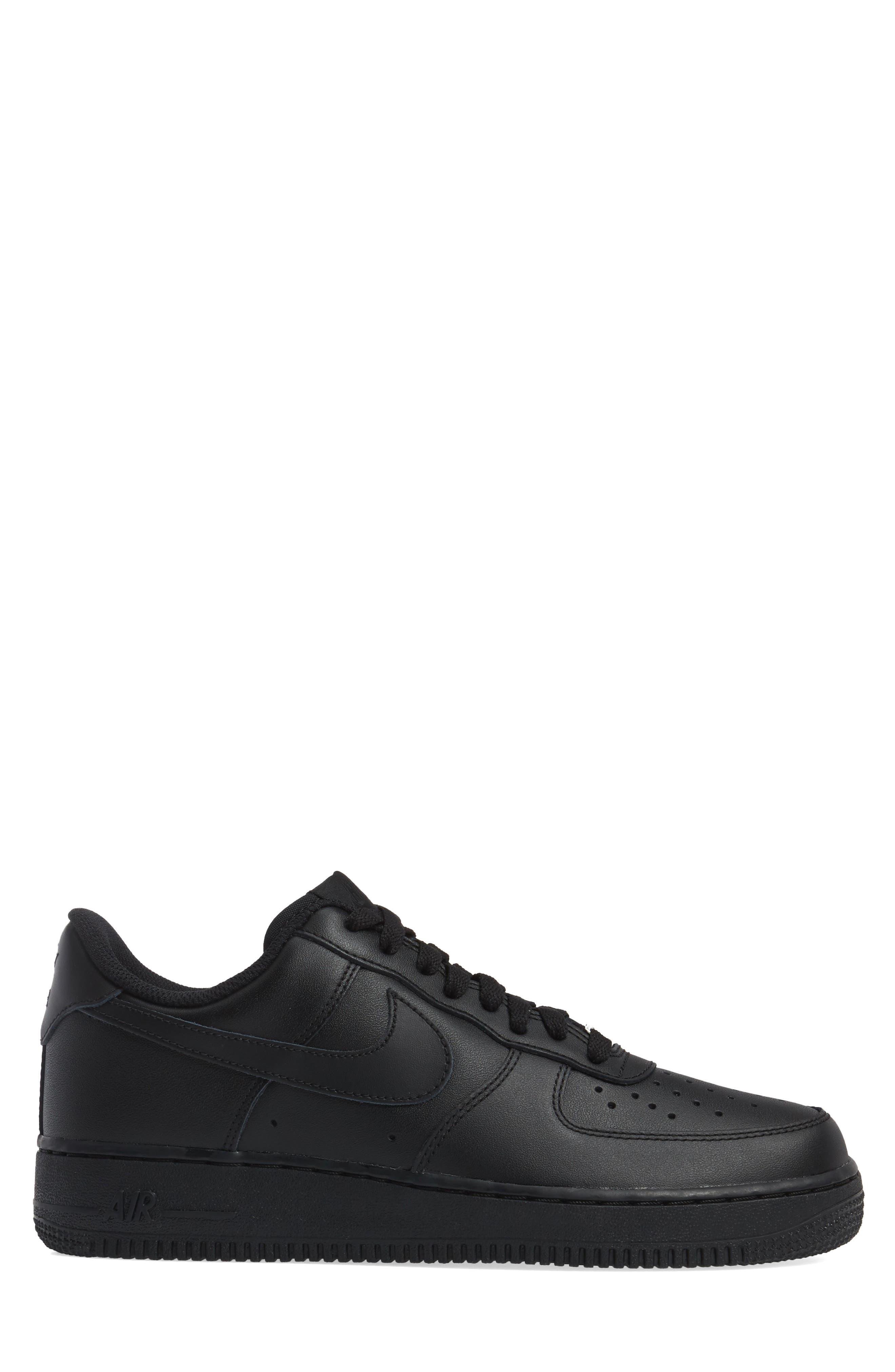 NIKE, Air Force 1 '07 Sneaker, Alternate thumbnail 3, color, BLACK/ BLACK