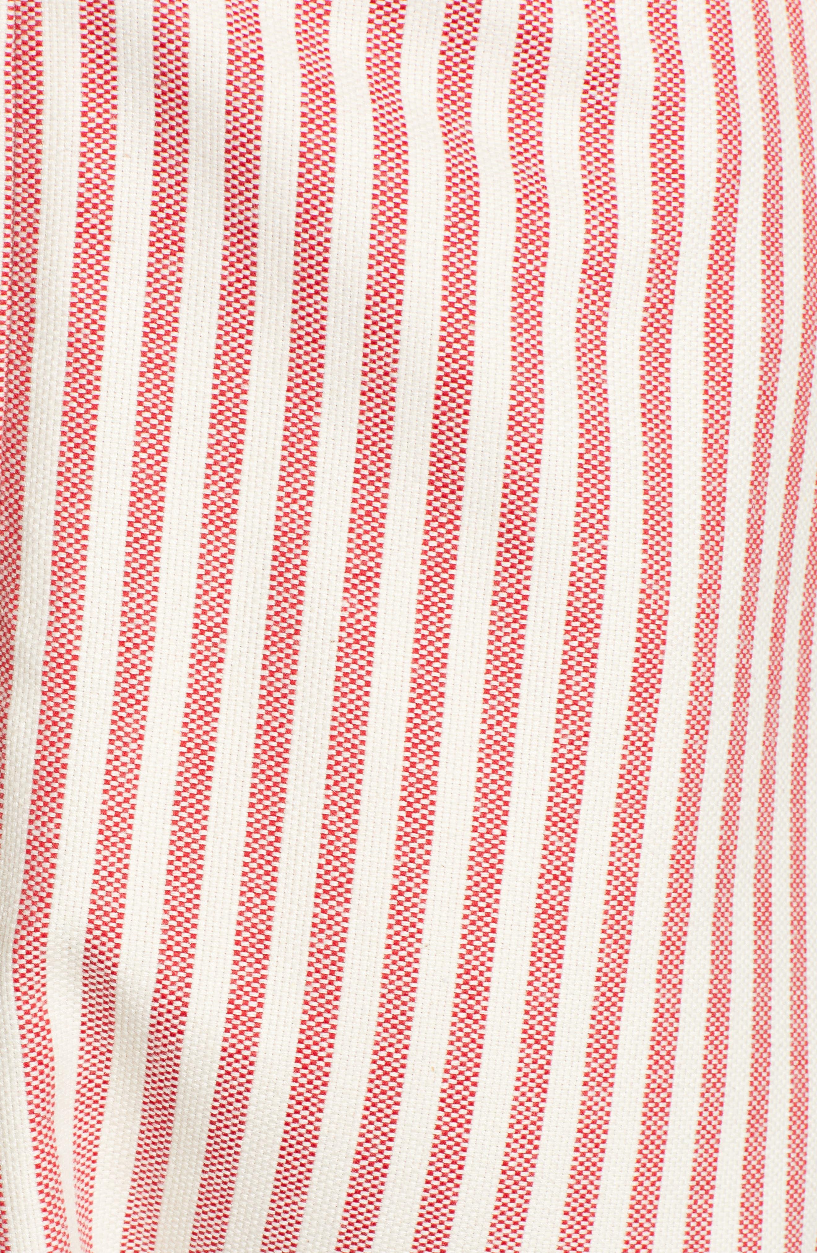 MOON RIVER, Button Detail Stripe Minidress, Alternate thumbnail 5, color, RED STRIPE