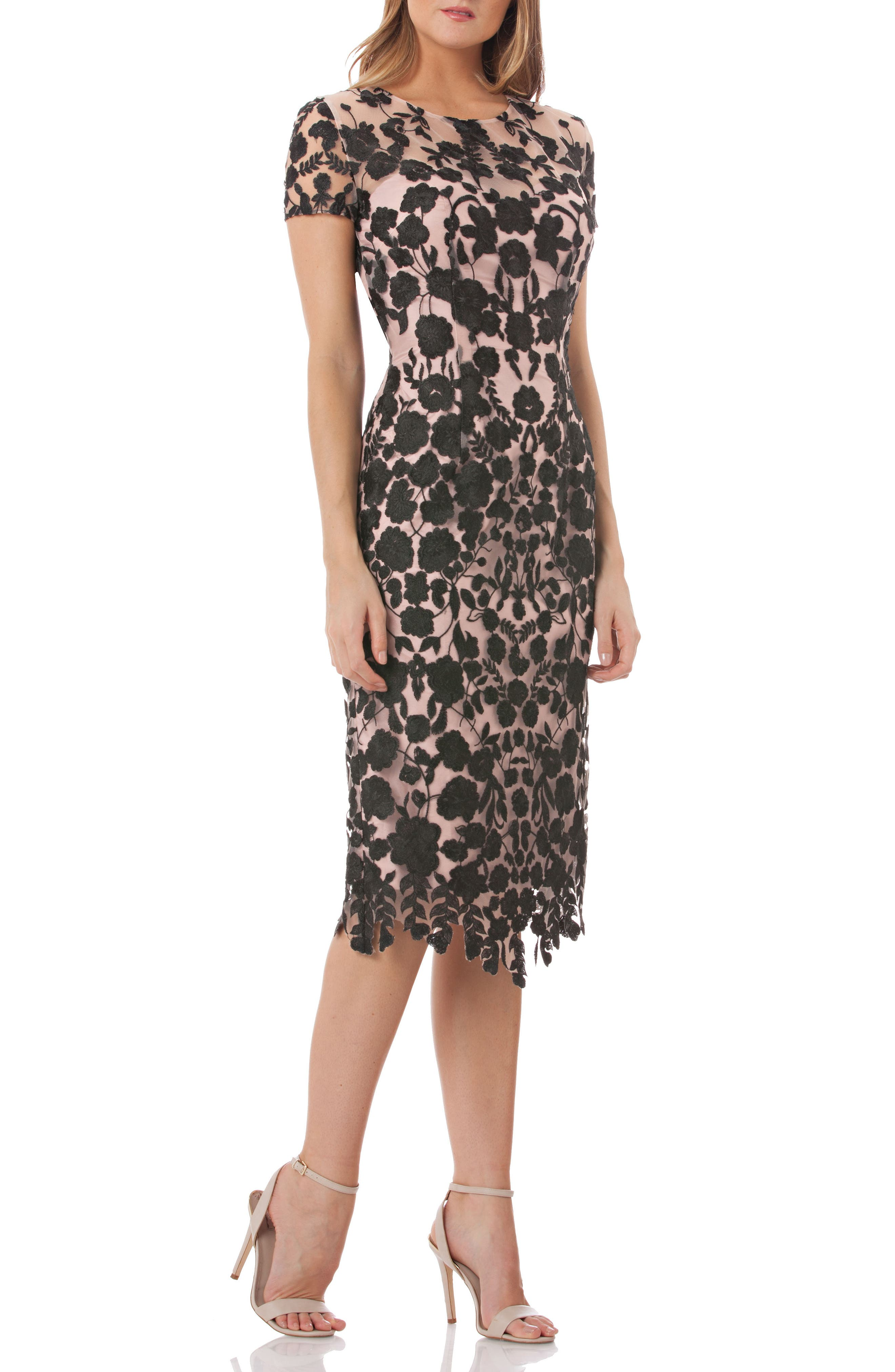 JS COLLECTIONS, Embroidered Midi Dress, Main thumbnail 1, color, 001