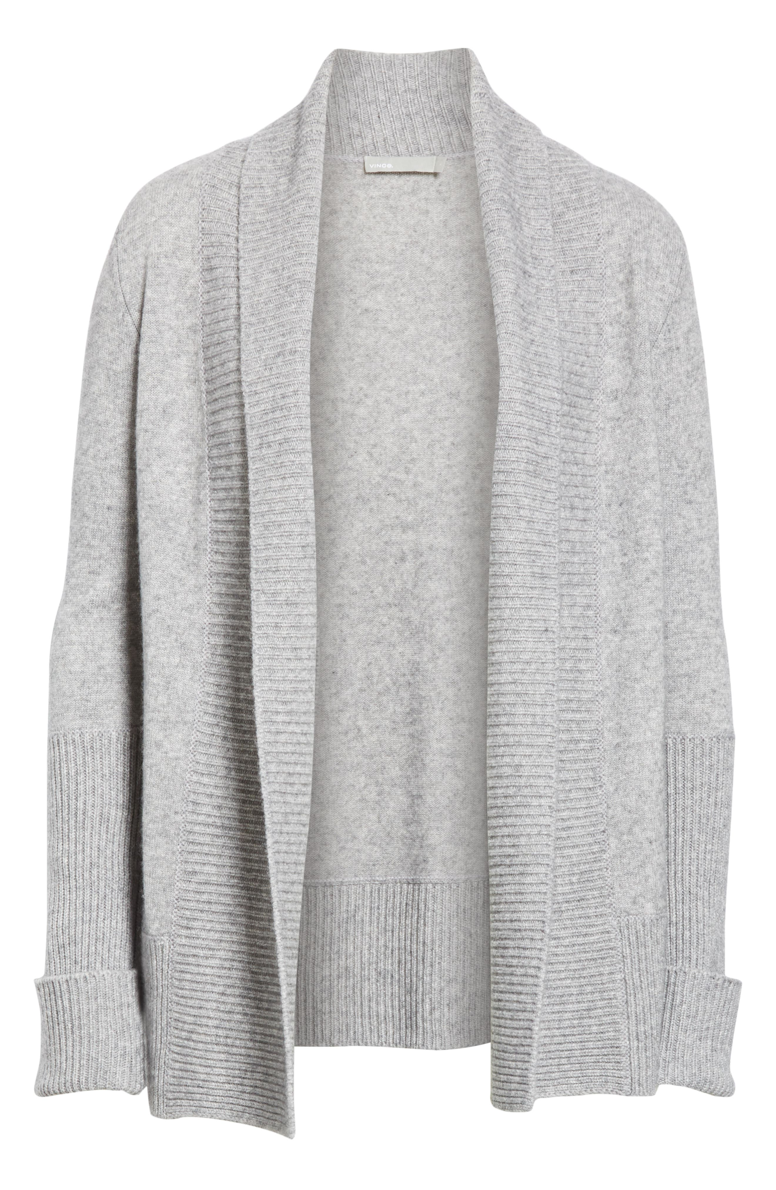 VINCE, Wool & Cashmere Cardigan, Alternate thumbnail 6, color, H STEEL