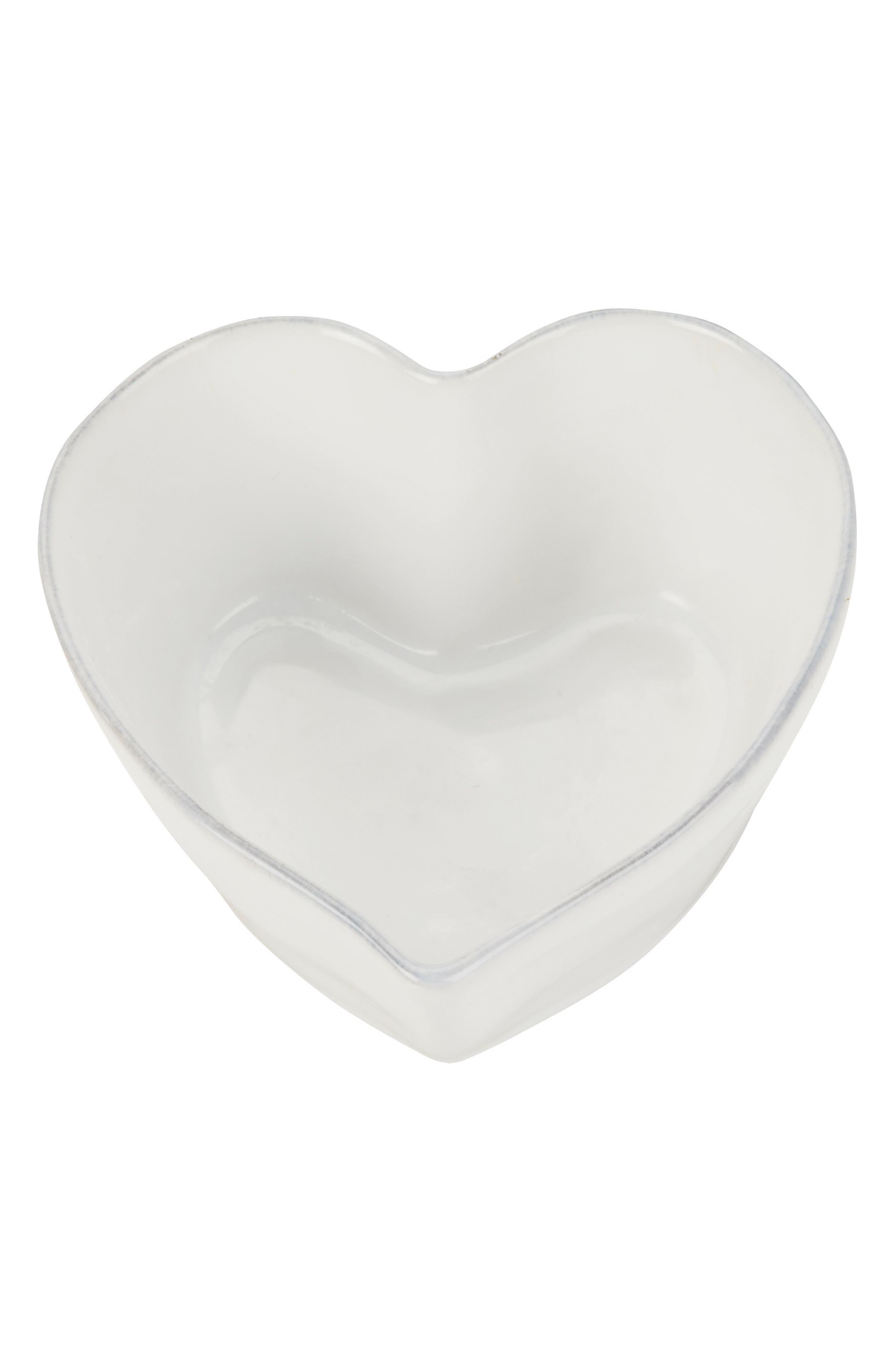 THE WHITE COMPANY Porto Stoneware Heart Roaster, Main, color, WHITE