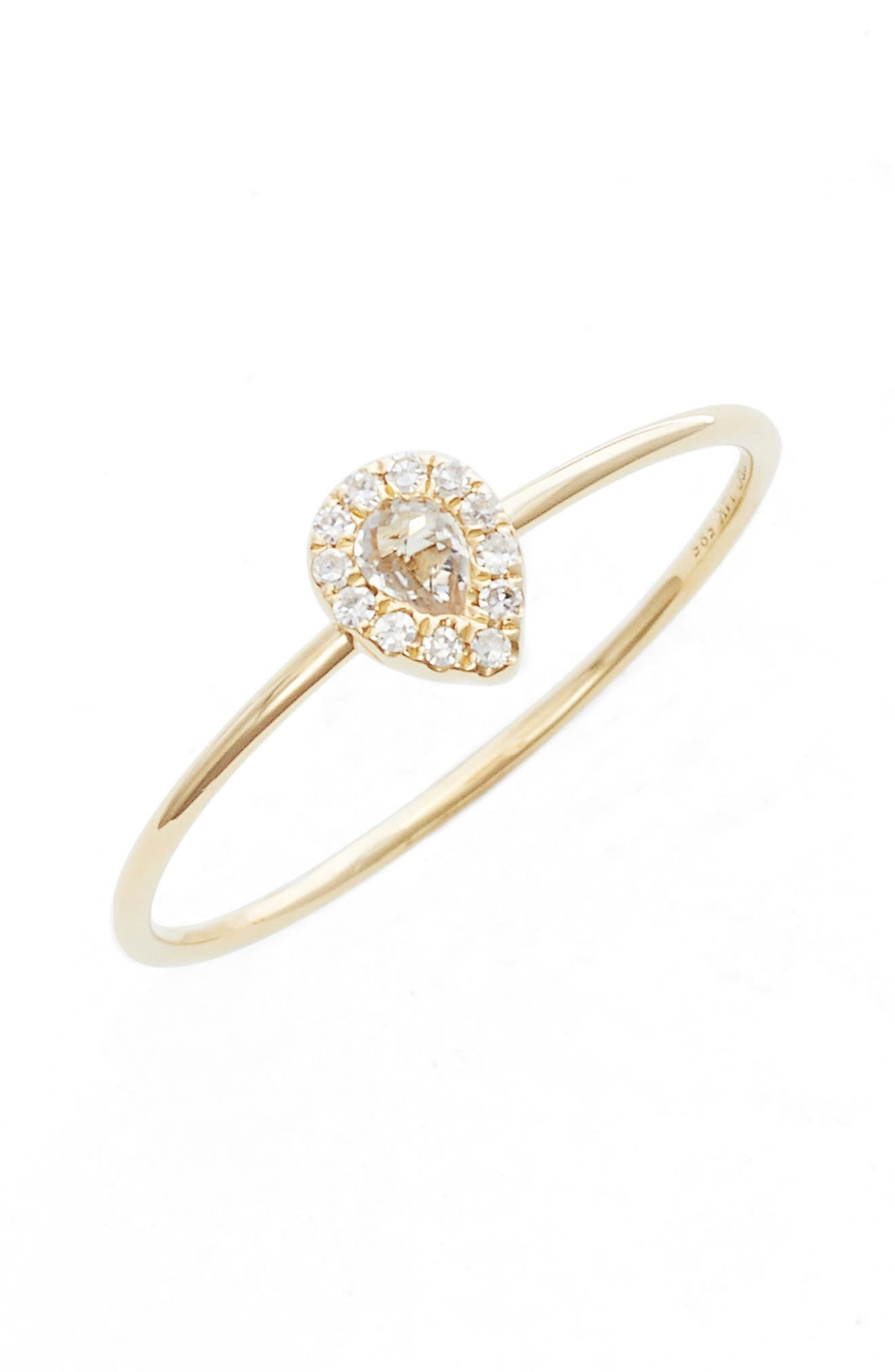 EF COLLECTION, Teardrop Diamond & Topaz Stack Ring, Main thumbnail 1, color, YELLOW GOLD