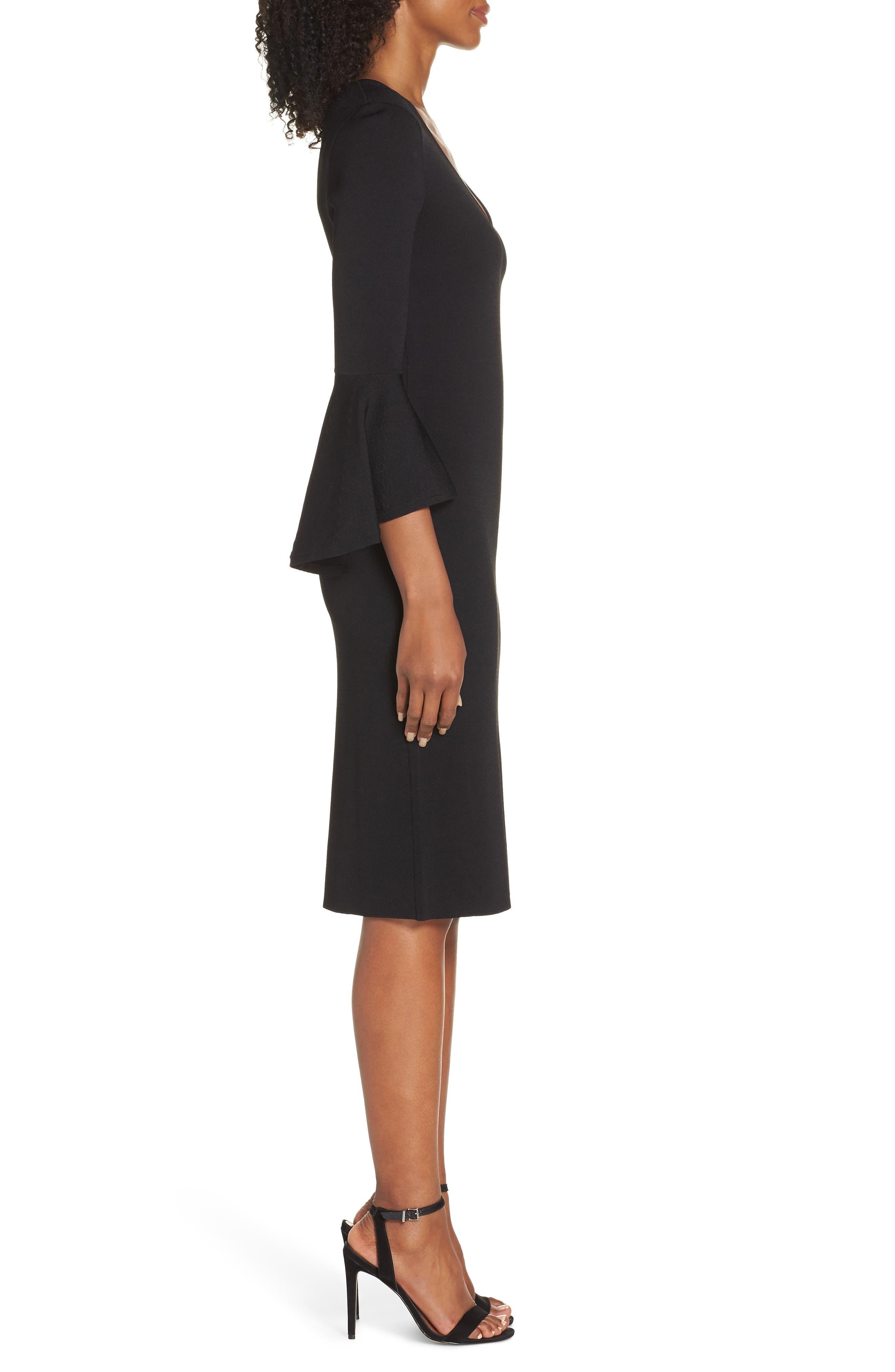 ELIZA J, Bell Sleeve Sheath Dress, Alternate thumbnail 4, color, BLACK