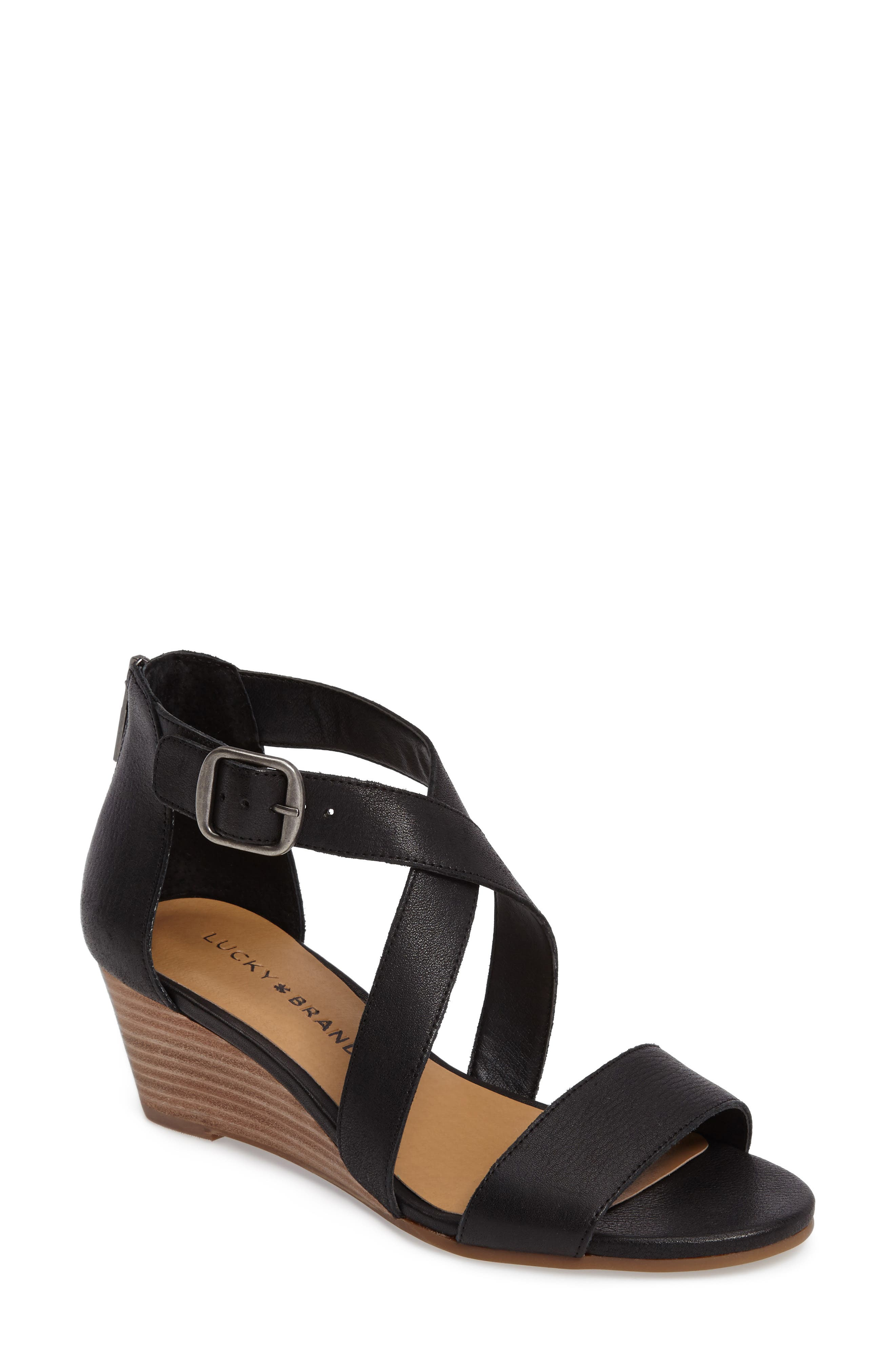 LUCKY BRAND, Jenley Wedge Sandal, Main thumbnail 1, color, BLACK LEATHER