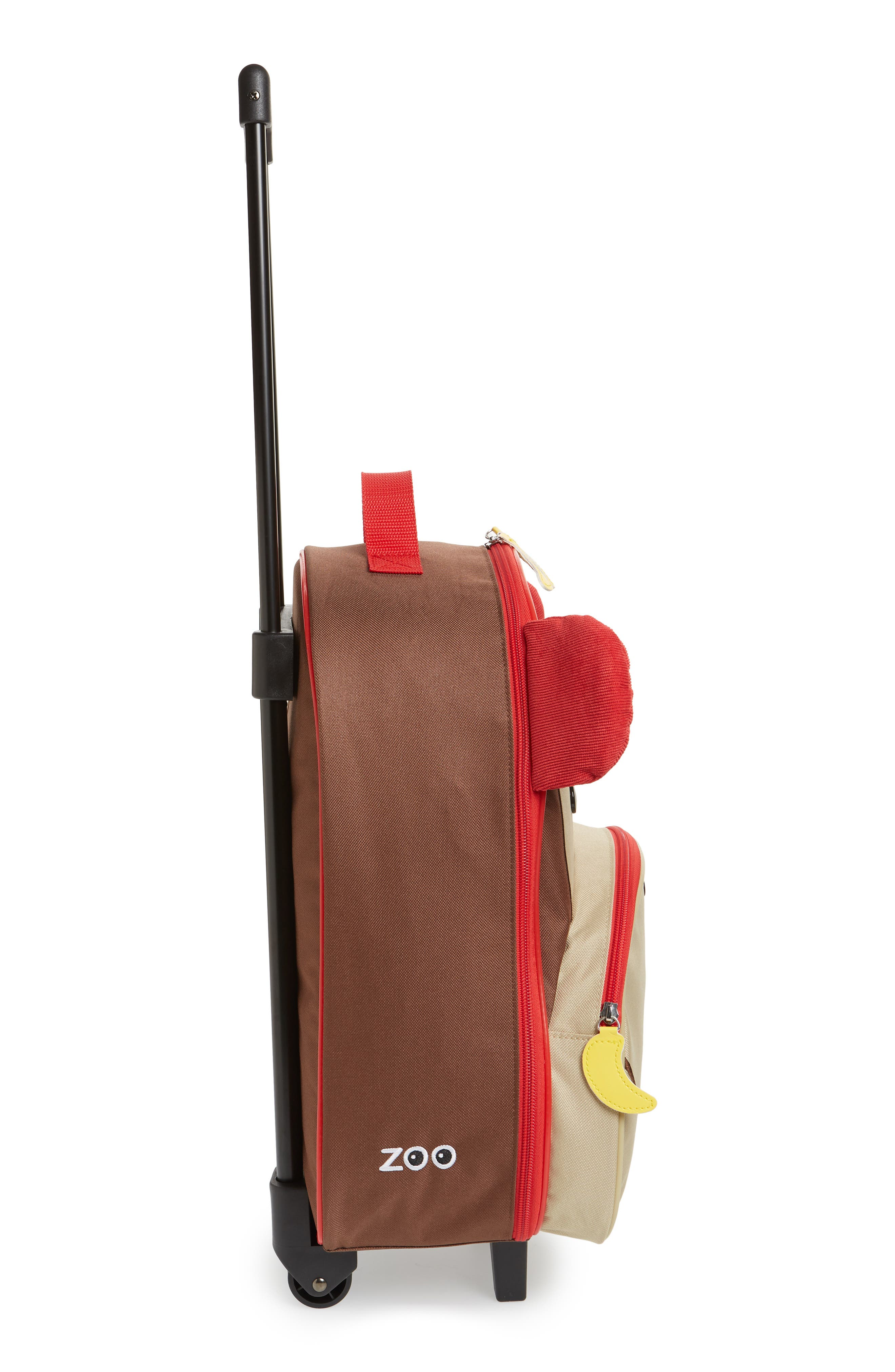 SKIP HOP, Monkey Rolling Luggage, Alternate thumbnail 5, color, BROWN