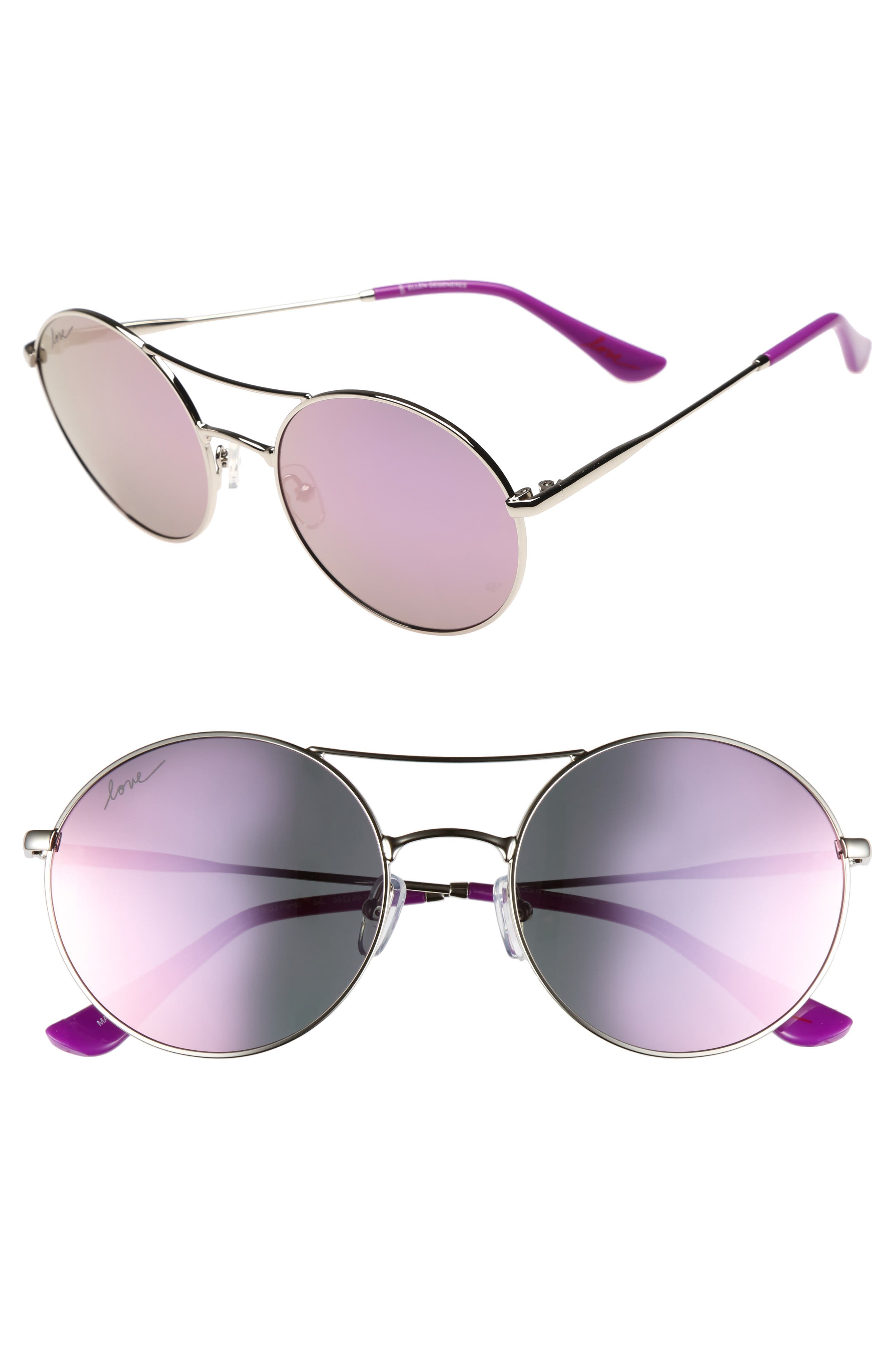 ED ELLEN DEGENERES, 55mm Round Sunglasses, Main thumbnail 1, color, SILVER