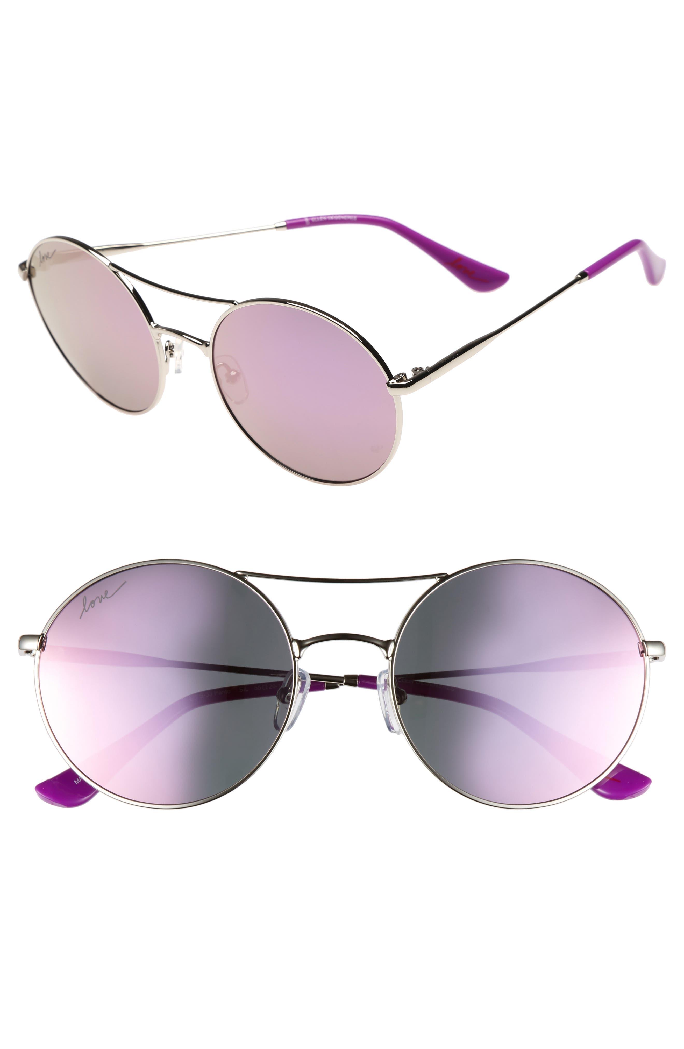 ED ELLEN DEGENERES 55mm Round Sunglasses, Main, color, SILVER