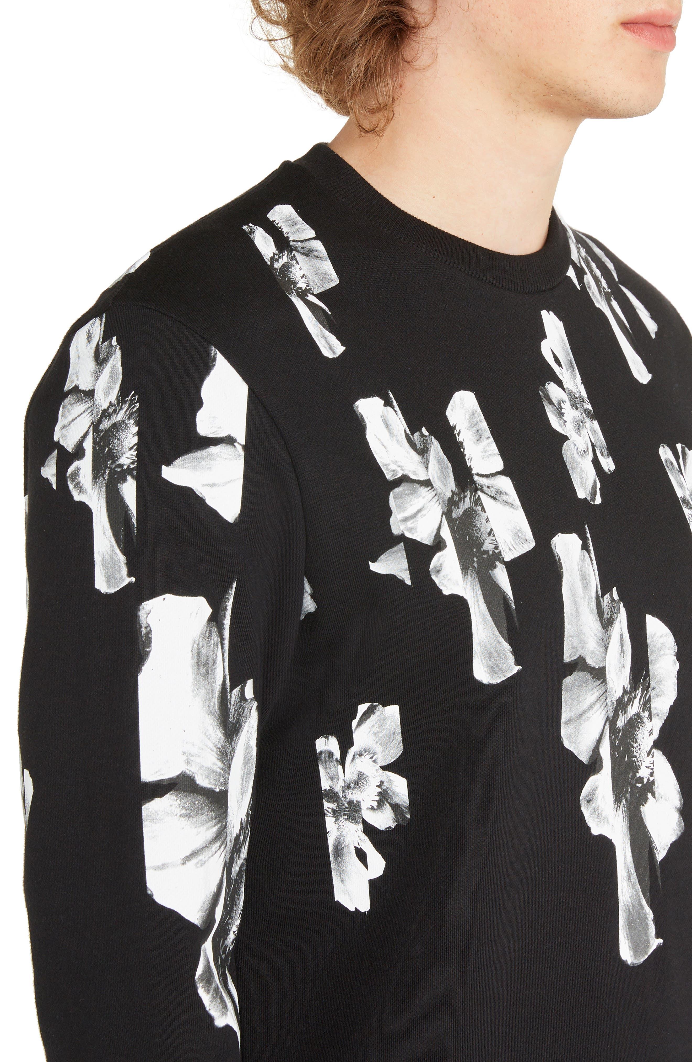 NEIL BARRETT, Abstract Flower Print Sweatshirt, Alternate thumbnail 4, color, BLACK/ WHITE
