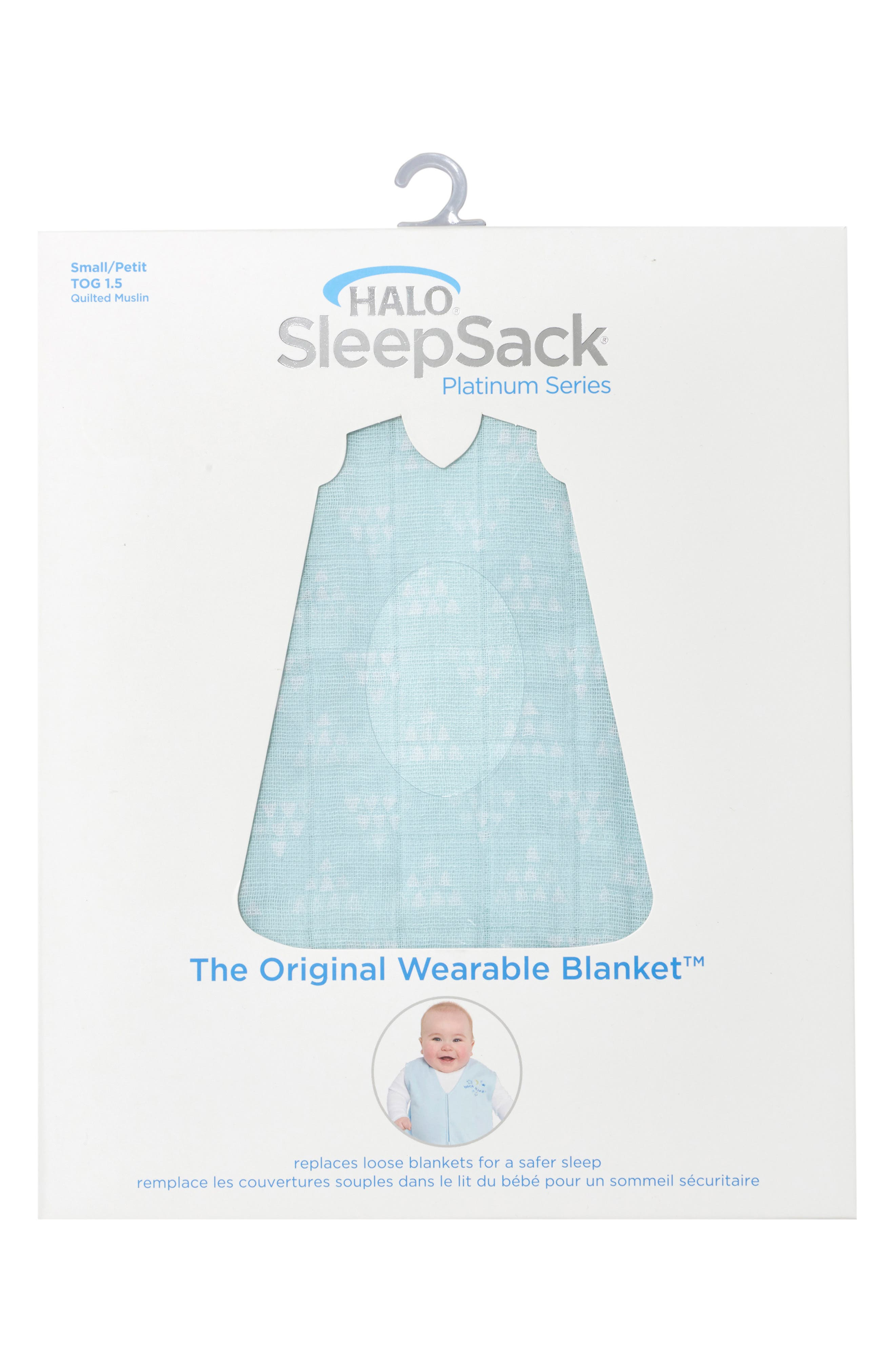 HALO<SUP>®</SUP>, Platinum Series SleepSack<sup>™</sup> Quilted Muslin Wearable Blanket, Alternate thumbnail 5, color, MINT PYRAMID