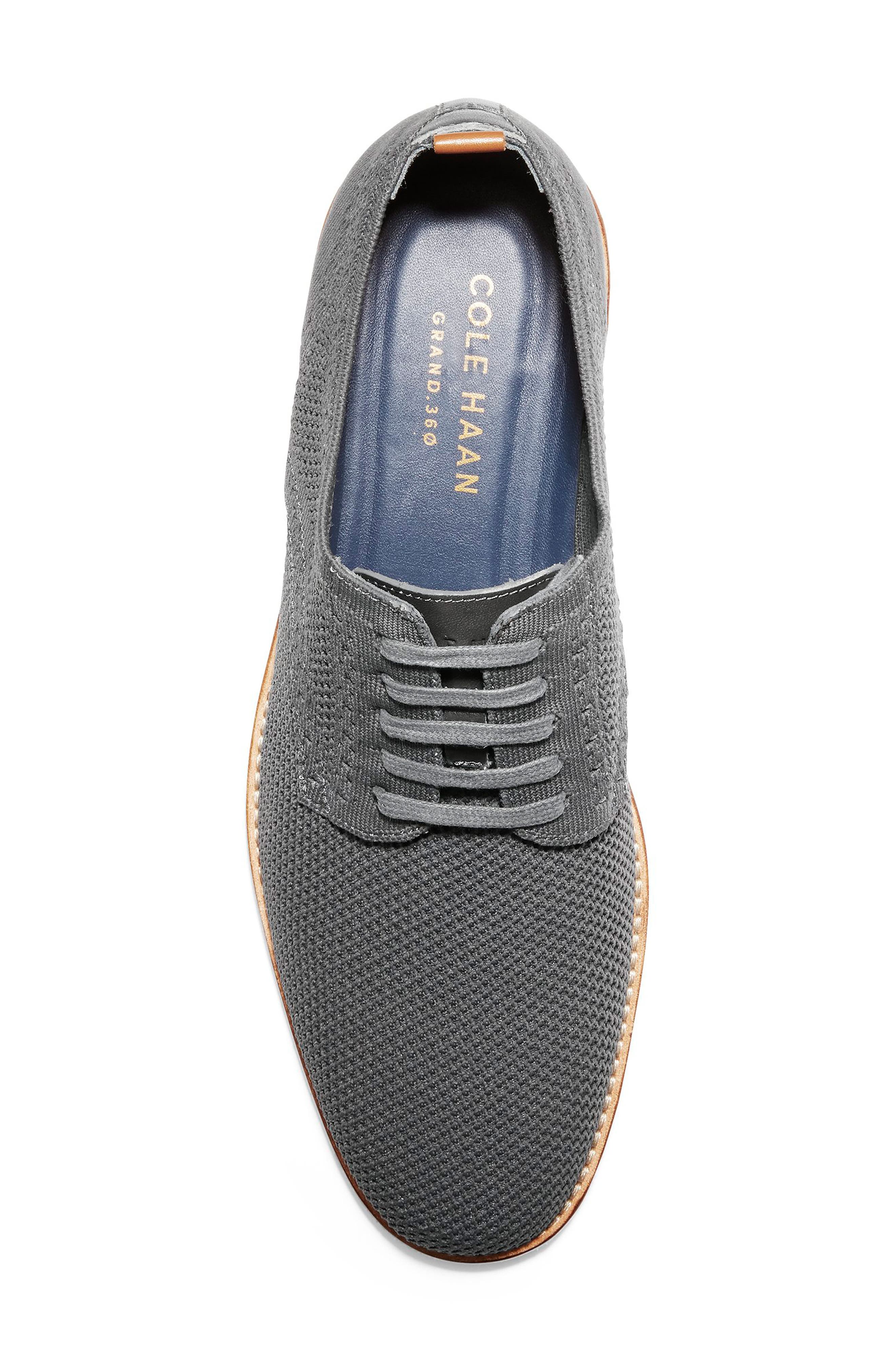 COLE HAAN, Feathercraft Grand Stitchlite Plain Toe Derby, Alternate thumbnail 5, color, MAGNET KNIT