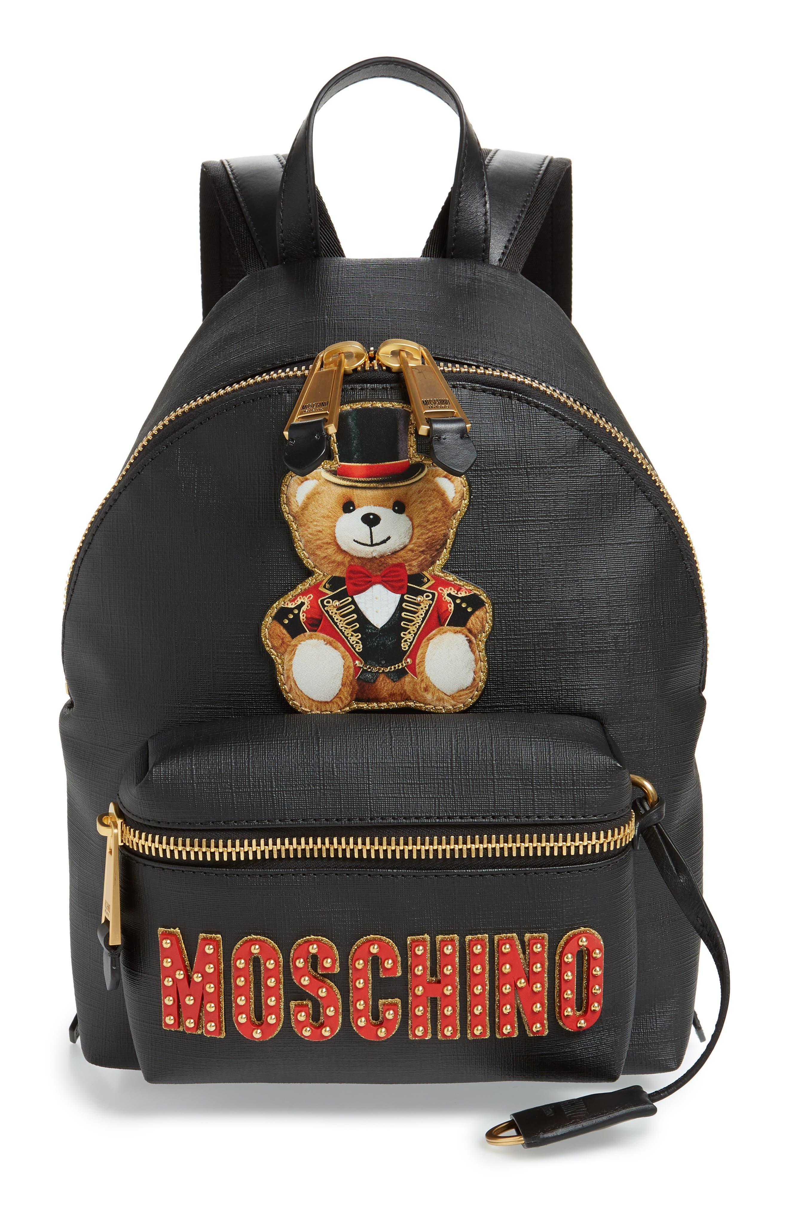 MOSCHINO, Mini Ring Master Backpack, Main thumbnail 1, color, BLACK
