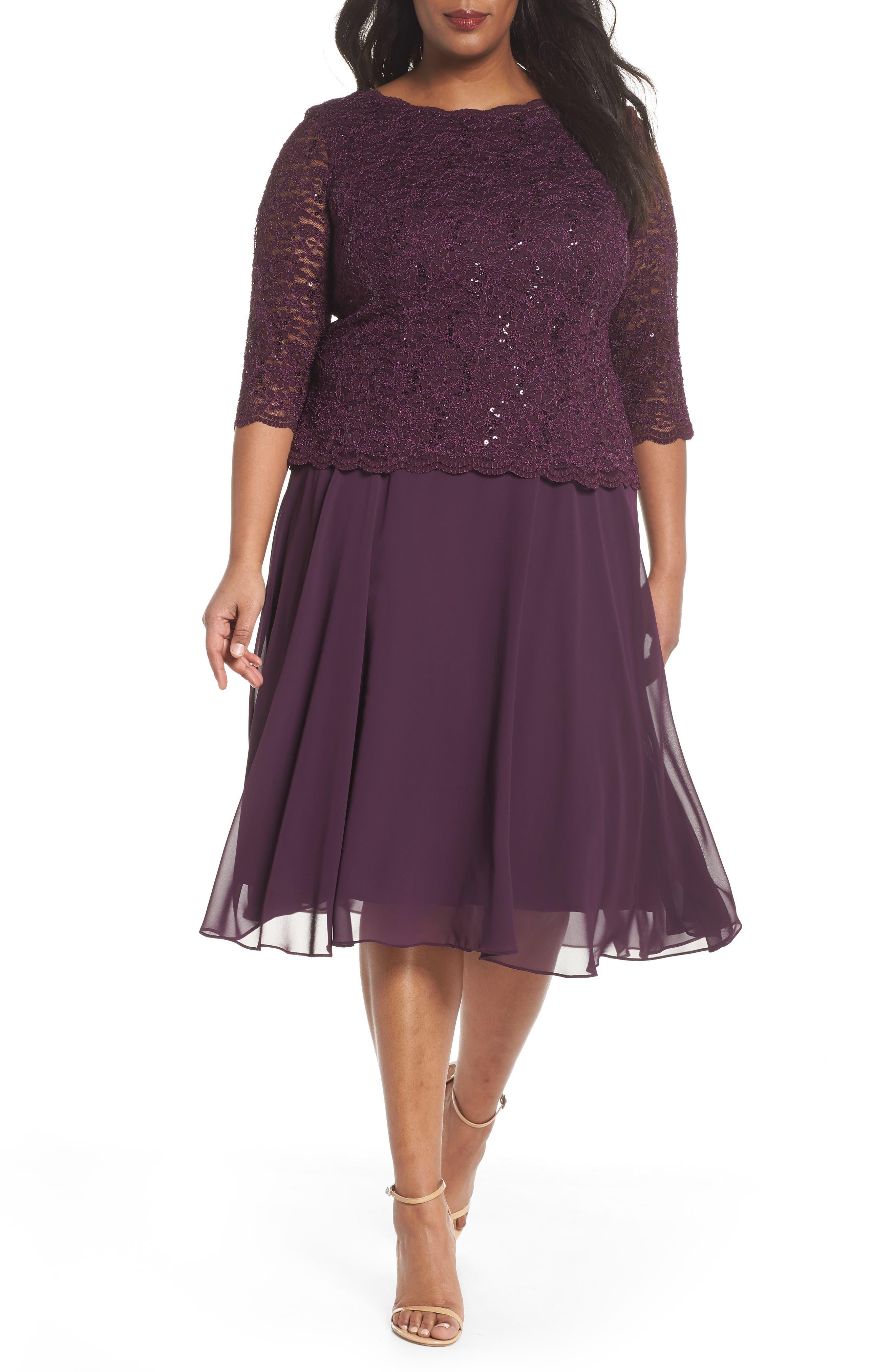 Plus Size Alex Evenings Mock Two-Piece Tea Length Dress