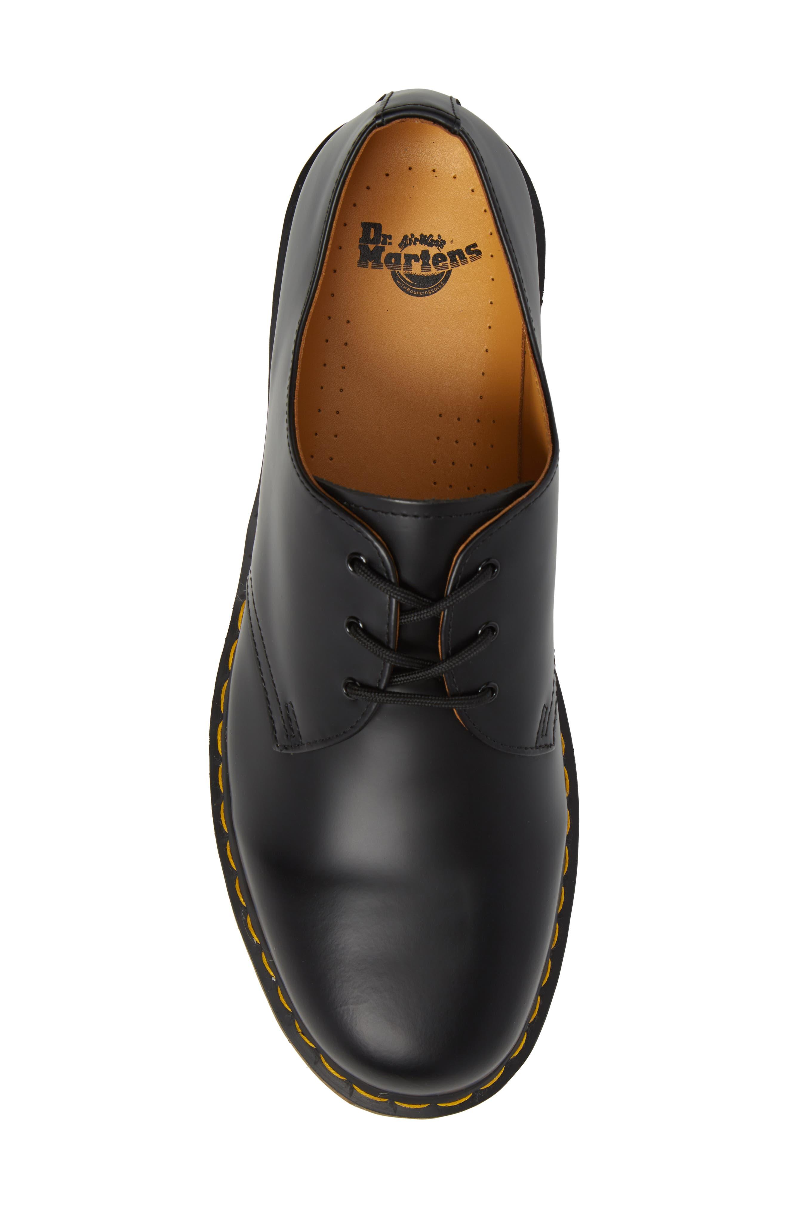 DR. MARTENS, Plain Toe Derby, Alternate thumbnail 5, color, BLACK SMOOTH