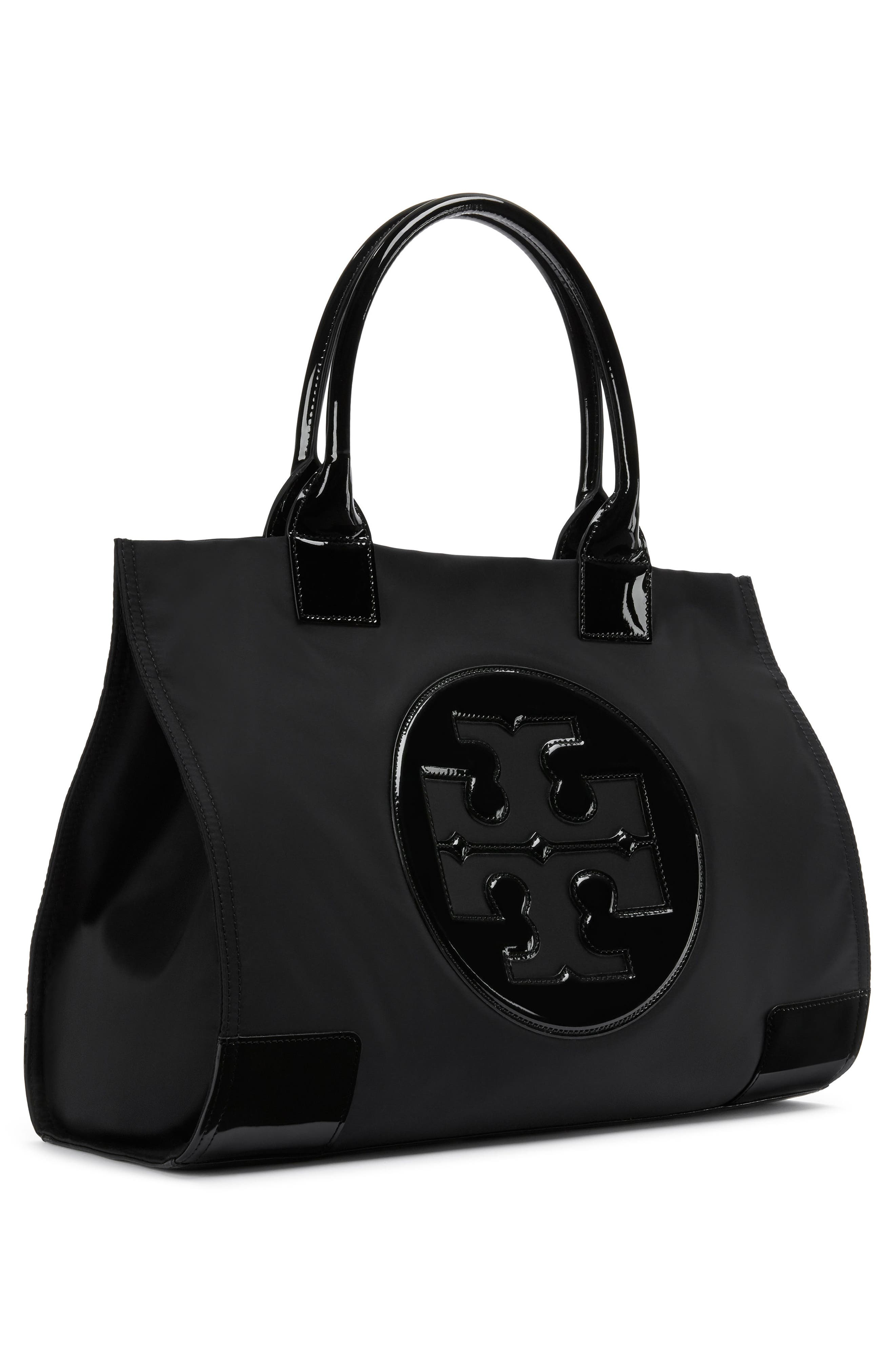 TORY BURCH, 'Ella' Nylon Tote, Alternate thumbnail 4, color, 001