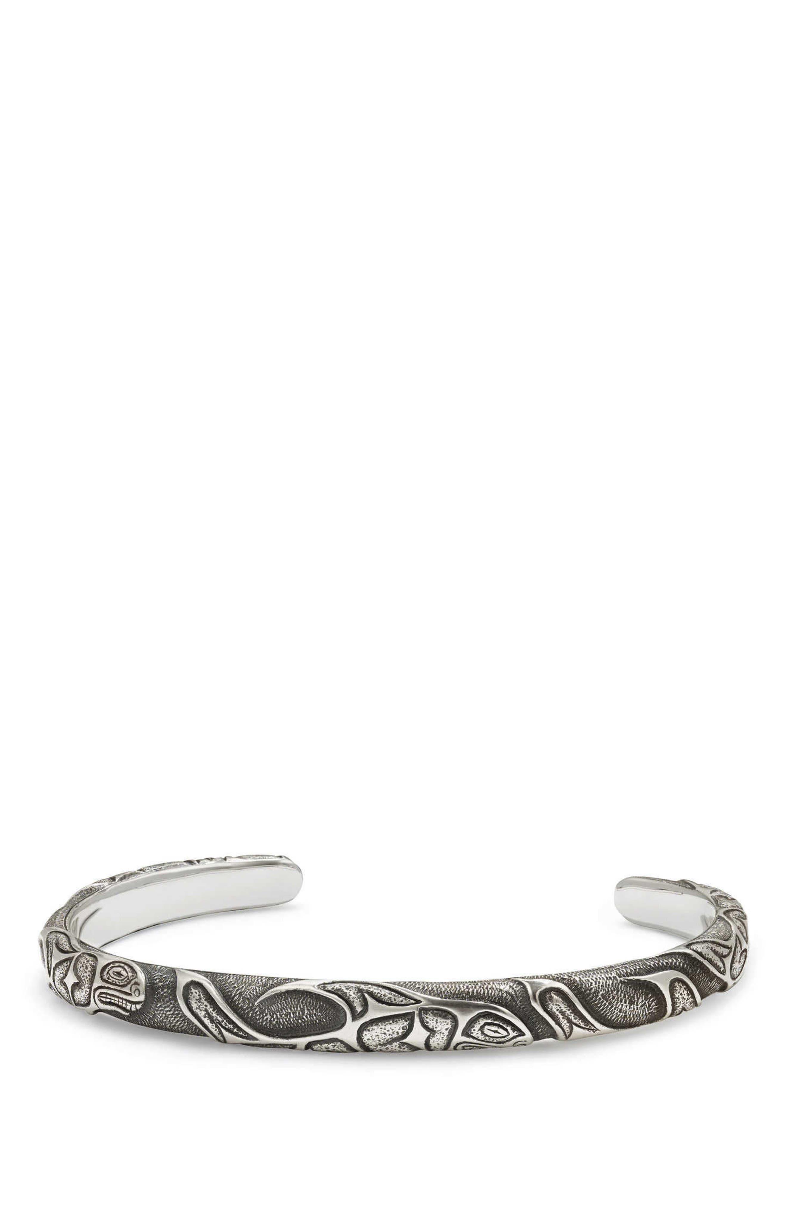 DAVID YURMAN Northwest Narrow Cuff Bracelet, Main, color, SILVER