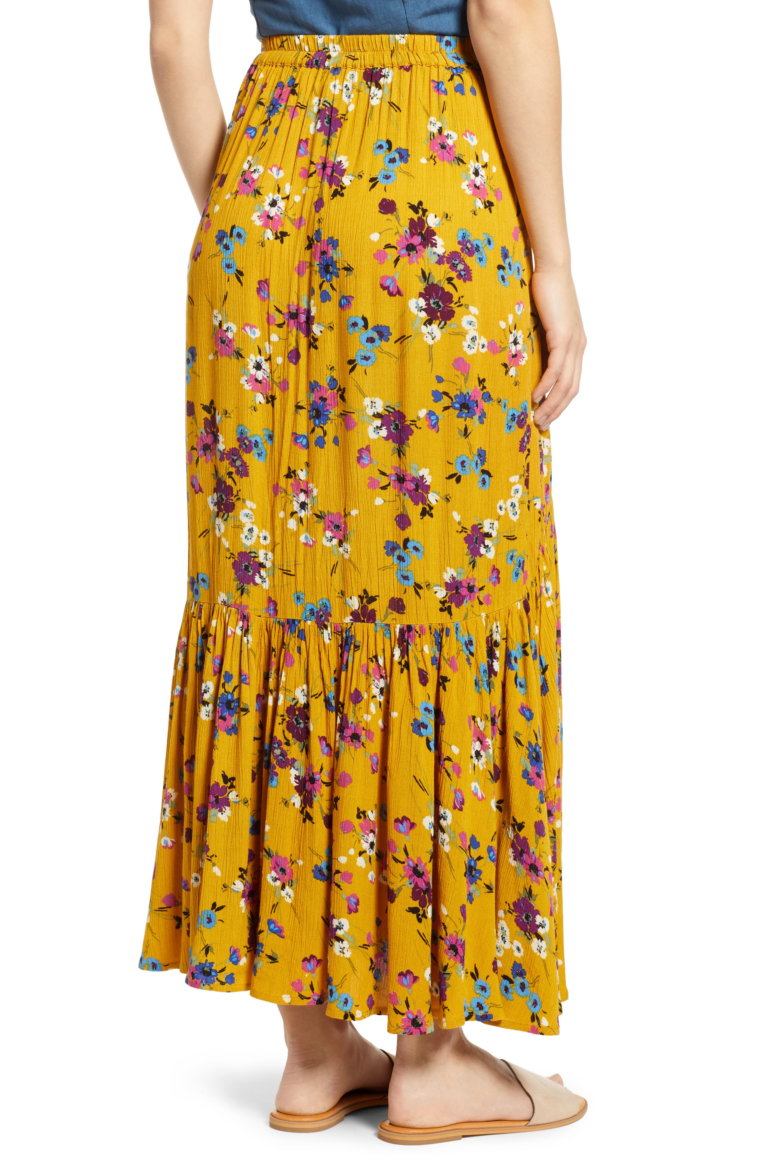 BAND OF GYPSIES, Marseille Button Front Maxi Skirt, Alternate thumbnail 2, color, 700