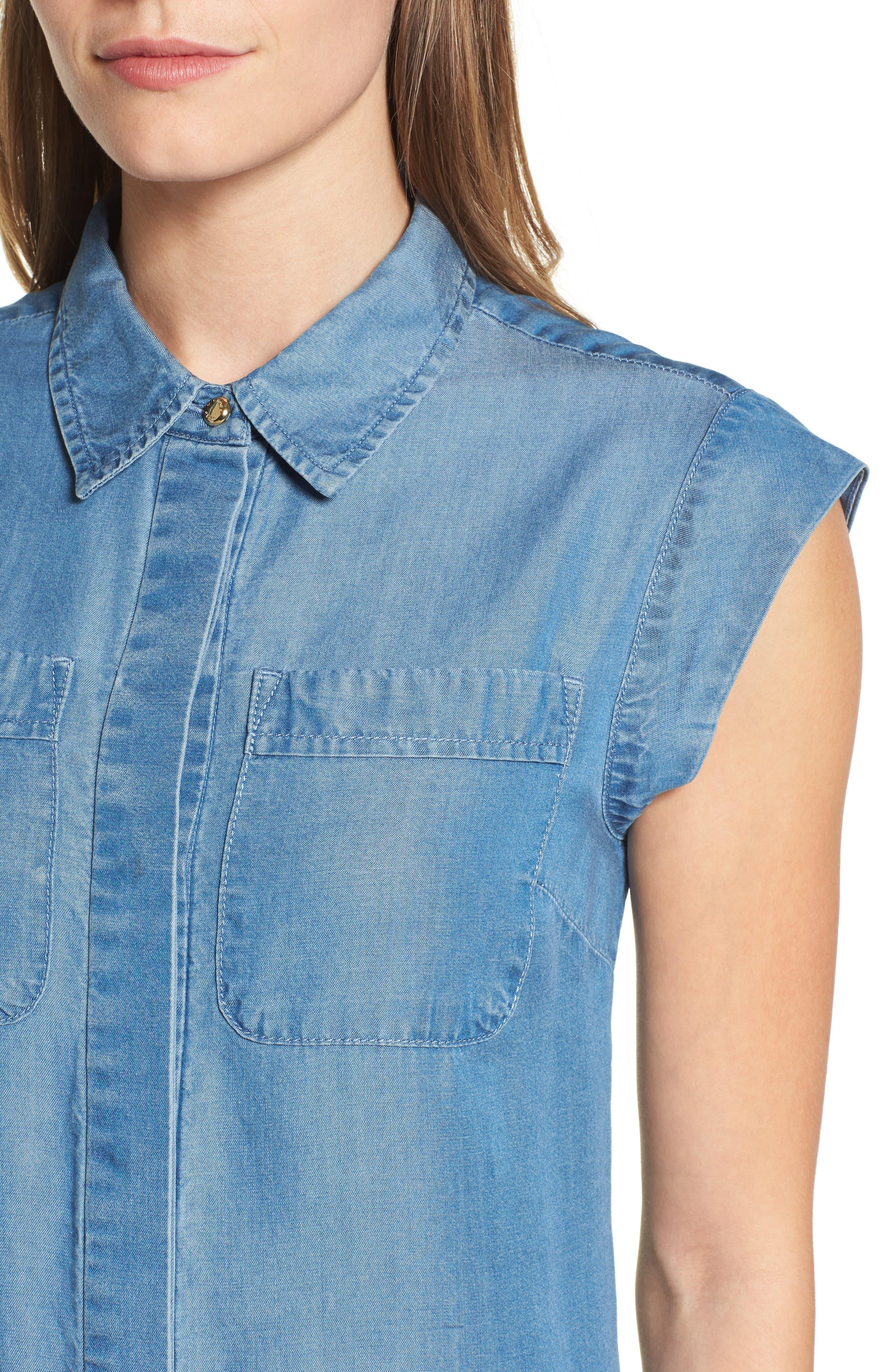 MICHAEL MICHAEL KORS, Patch Pocket Chambray Shirtdress, Alternate thumbnail 4, color, 401