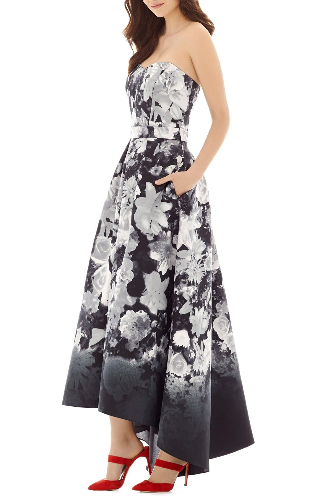 ALFRED SUNG, Floral Print Strapless Sateen High/Low Dress, Main thumbnail 1, color, BOHO