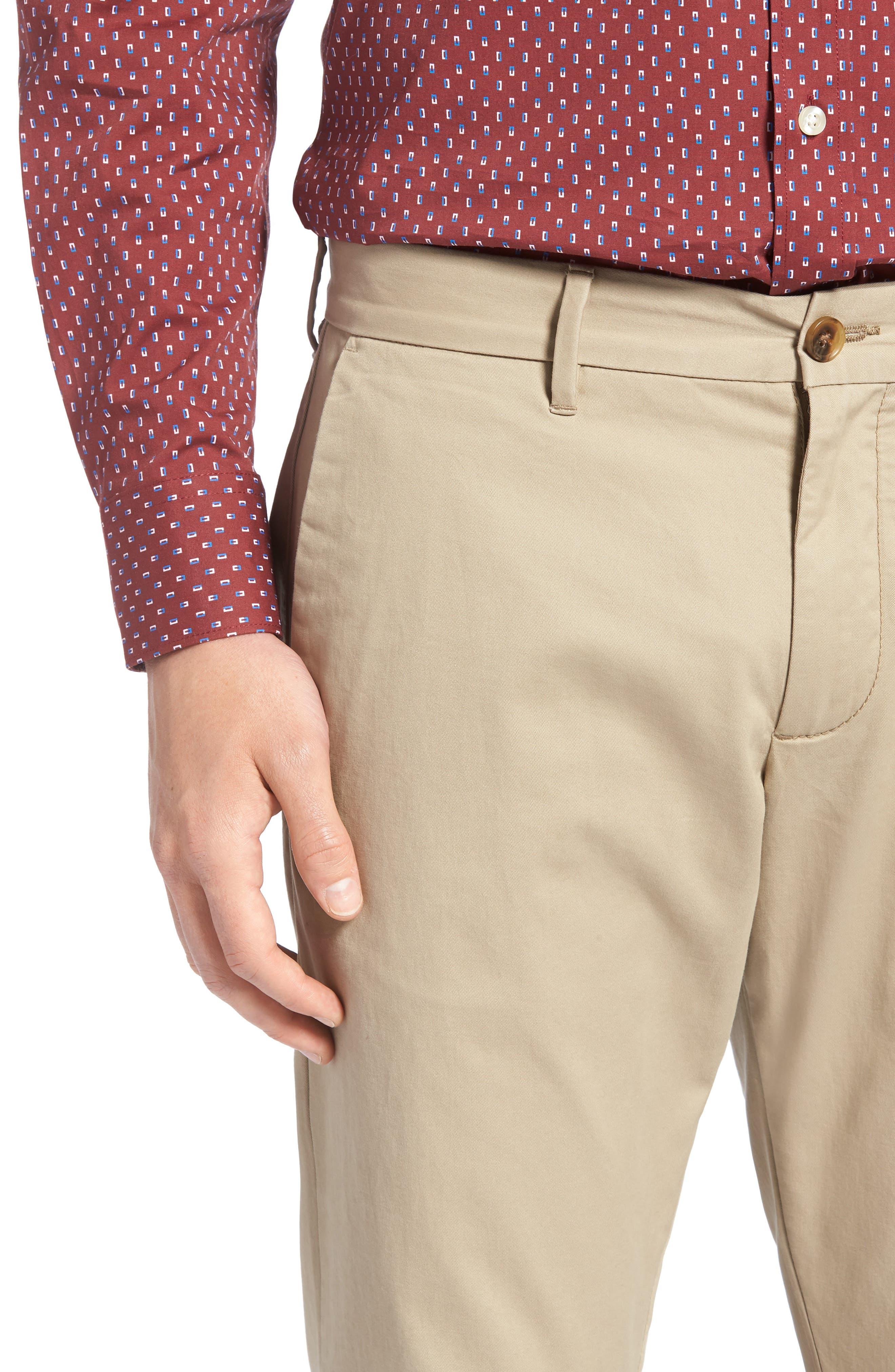 1901, Ballard Slim Fit Stretch Chino Pants, Alternate thumbnail 5, color, TAN BURROW