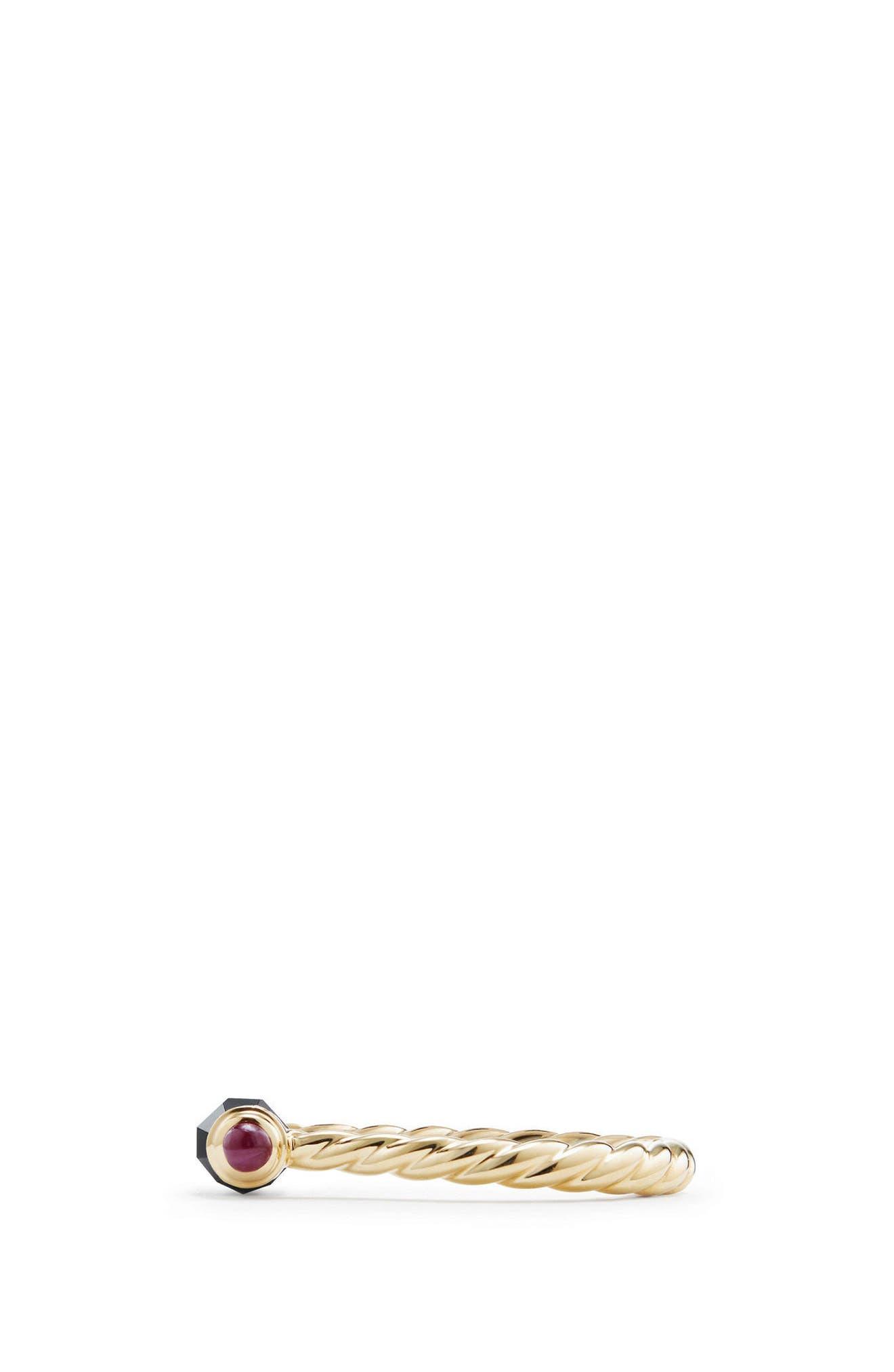 DAVID YURMAN, Barrels Ring with Diamonds in 18K Gold, Alternate thumbnail 2, color, BLACK ONYX