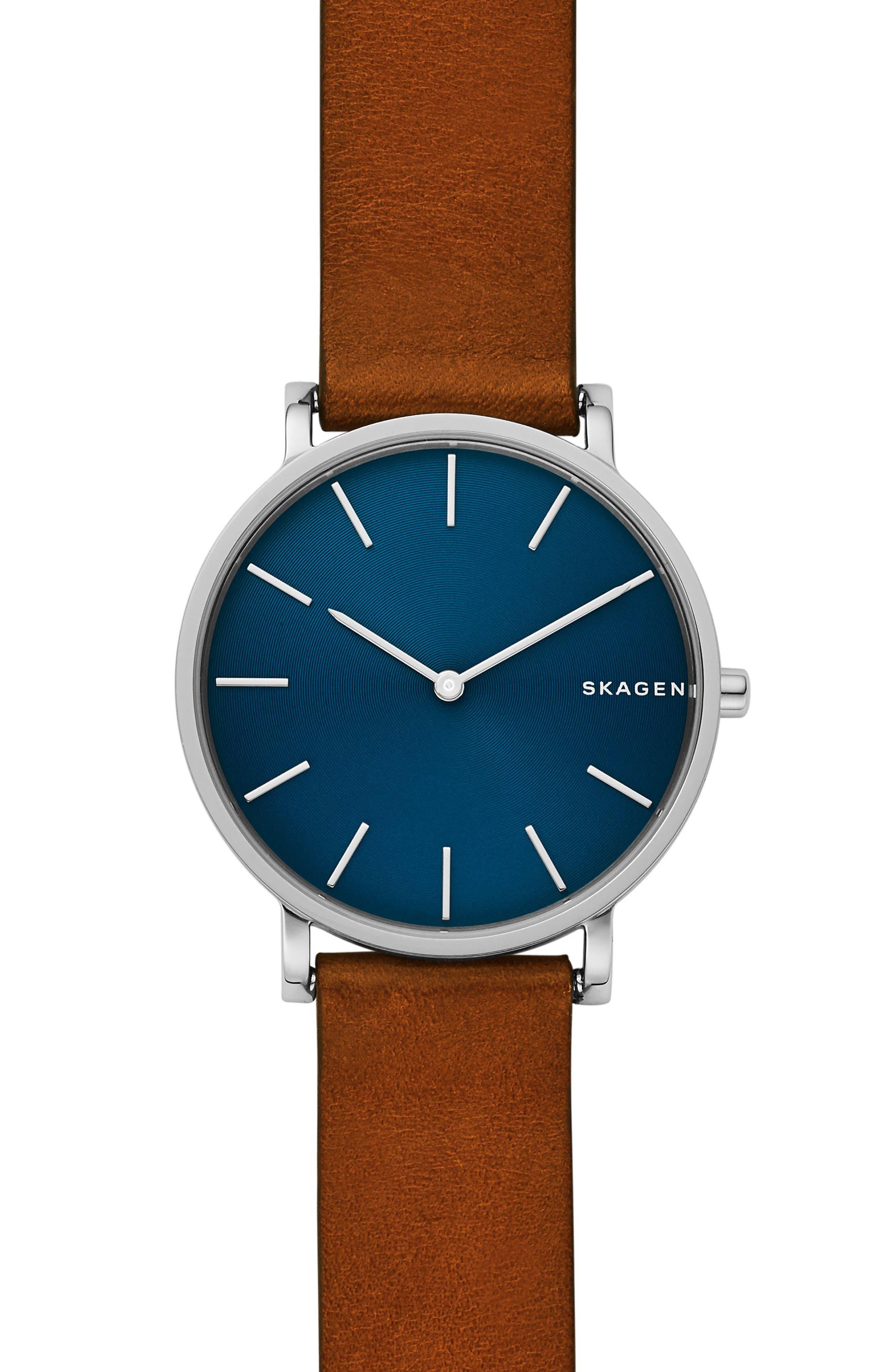 SKAGEN Hagen Slim Leather Strap Watch, 38mm, Main, color, 200