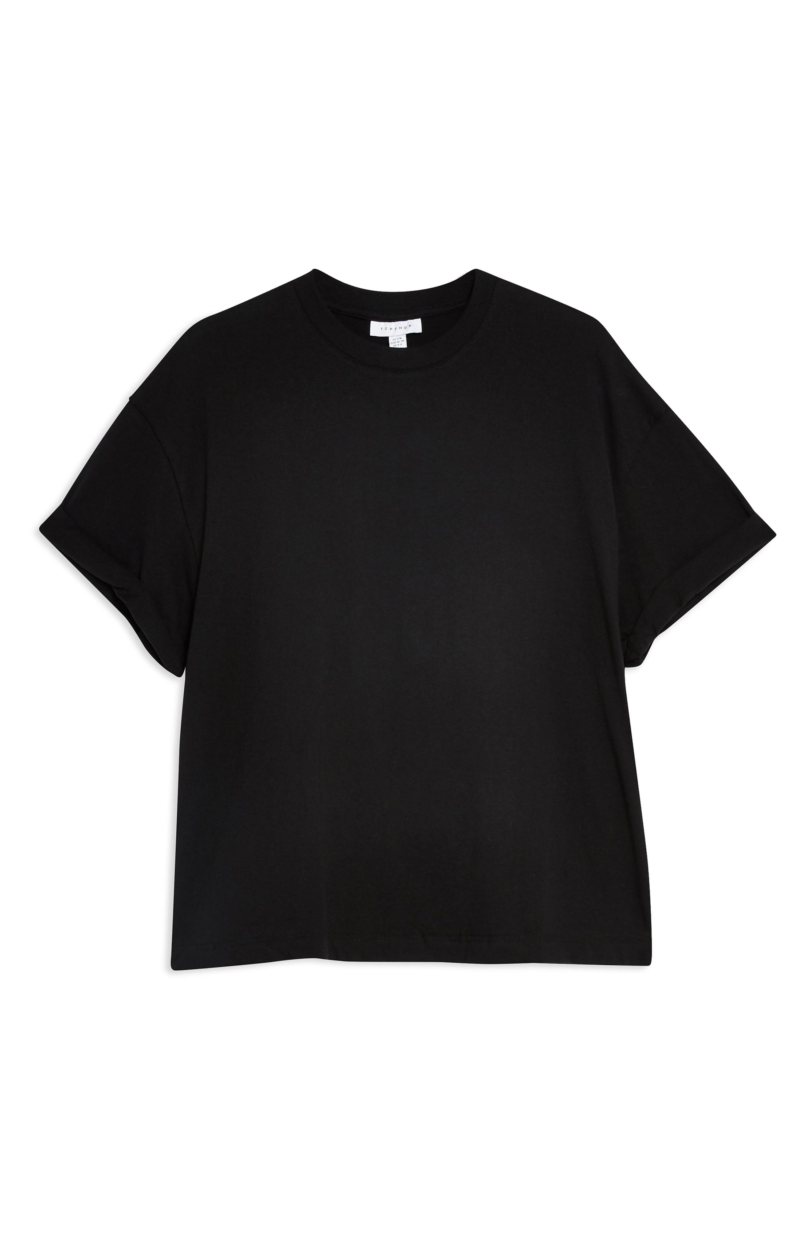 TOPSHOP, Boxy Roll Tee, Alternate thumbnail 3, color, BLACK