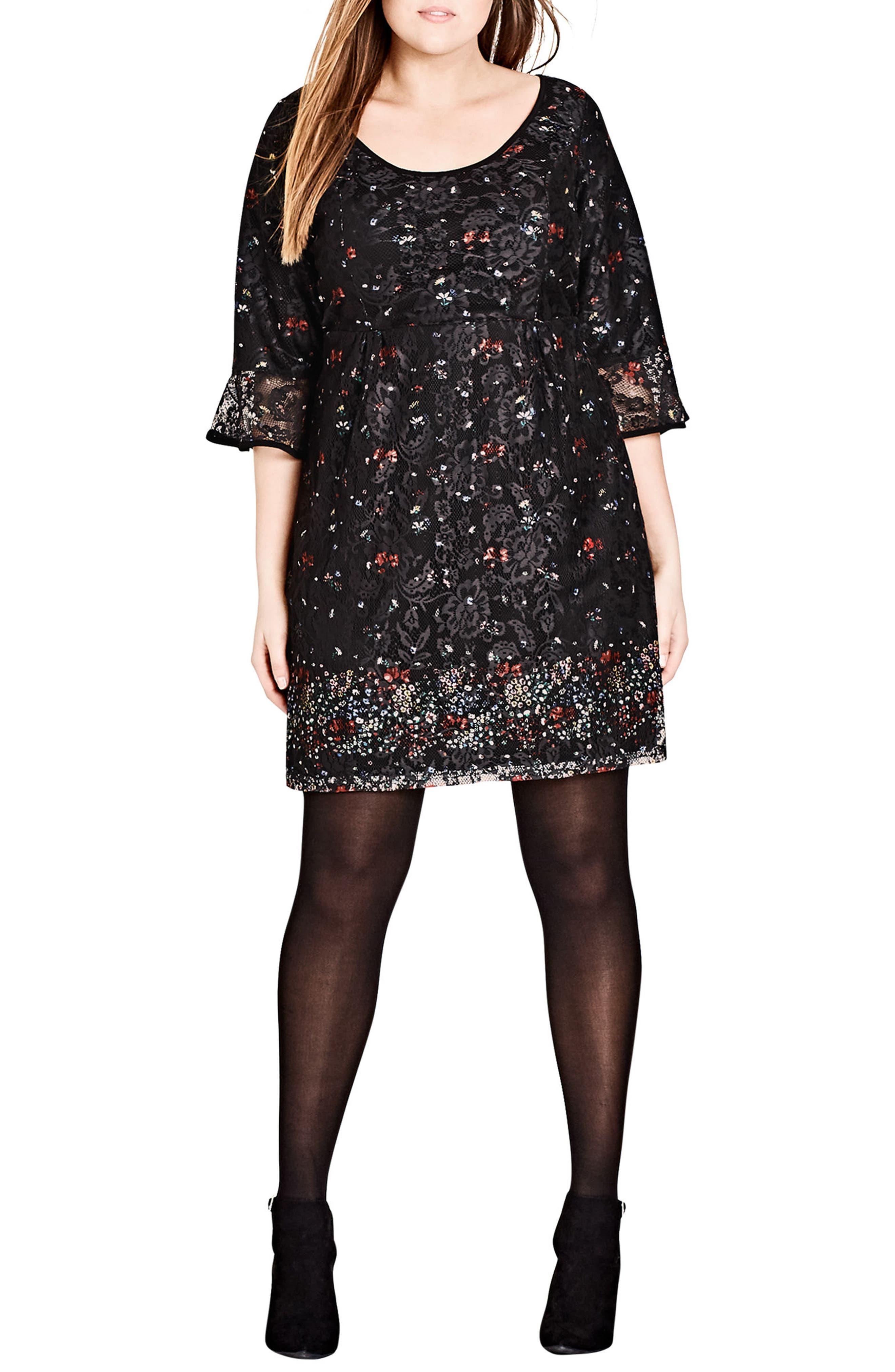 Plus Size City Chic Floral Fields Scoop Neck Lace Dress, Black