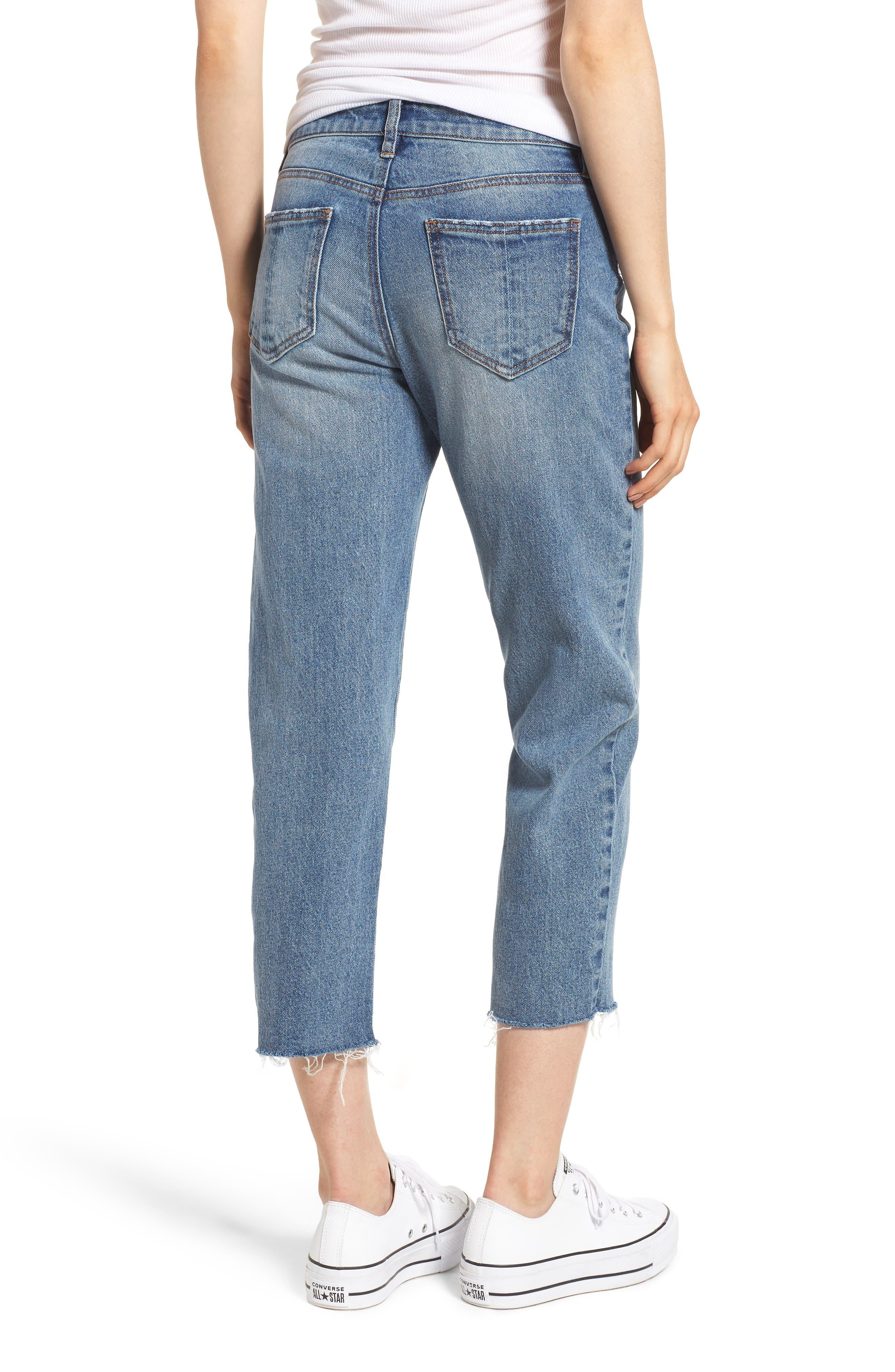 PROSPERITY DENIM, Crop Straight Leg Jeans, Alternate thumbnail 2, color, MED WASH