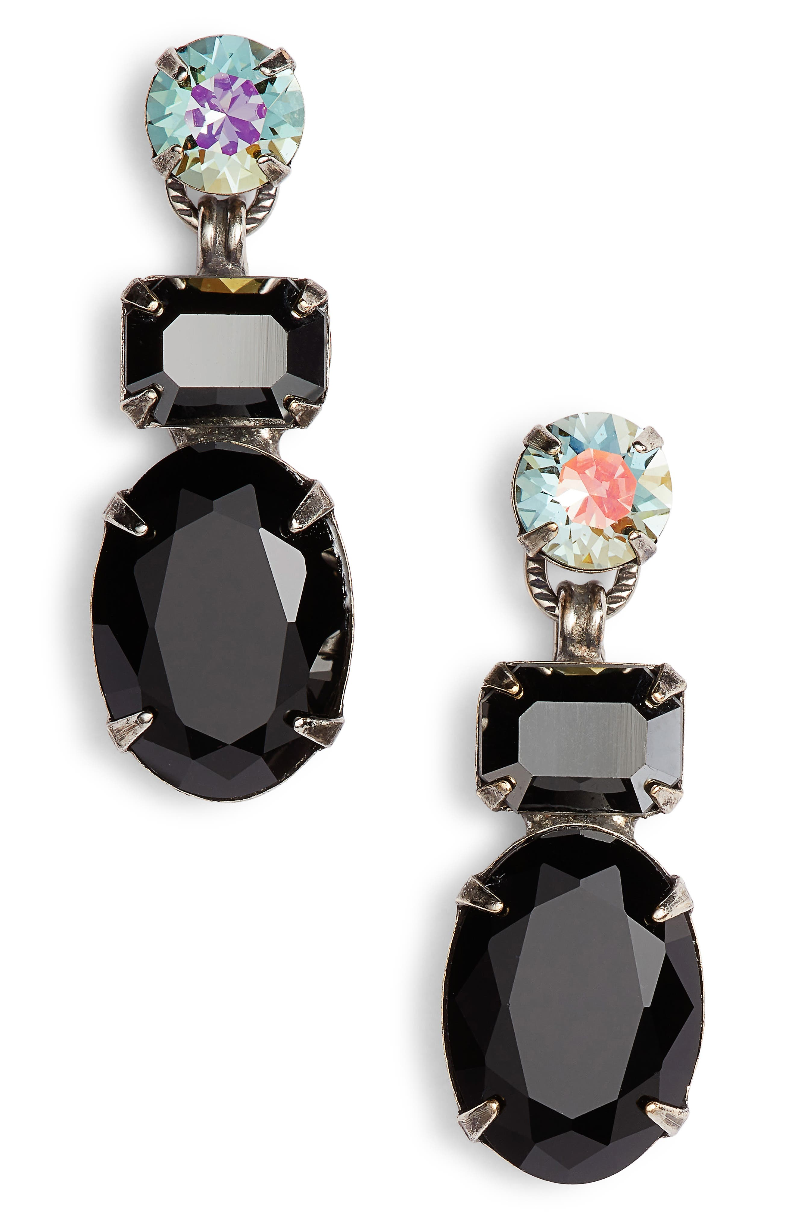 SORRELLI Forget Me Not Crystal Drop Earrings, Main, color, BLACK