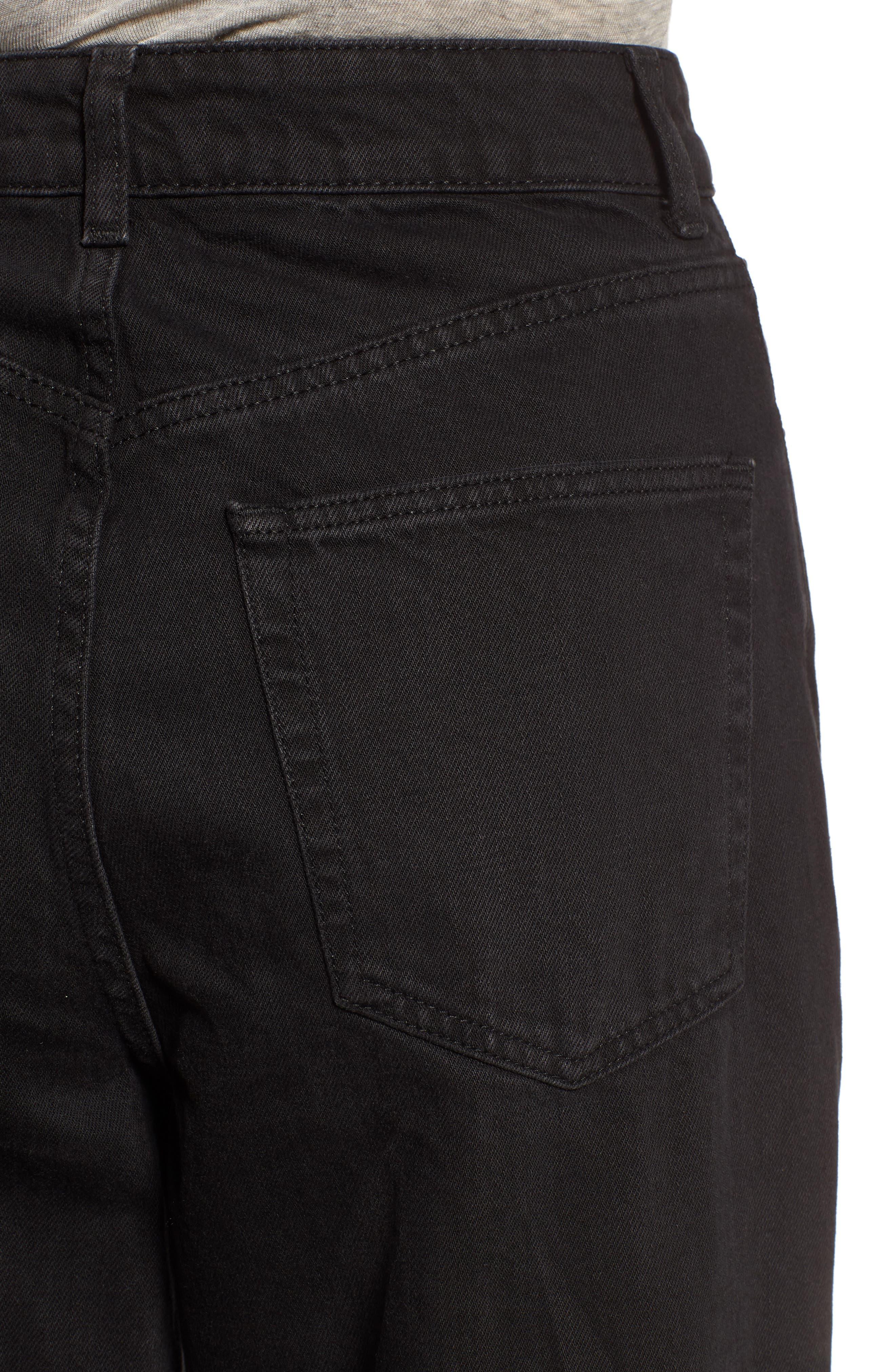 TOPSHOP, Wide Leg Crop Jeans, Alternate thumbnail 5, color, WASHED BLACK